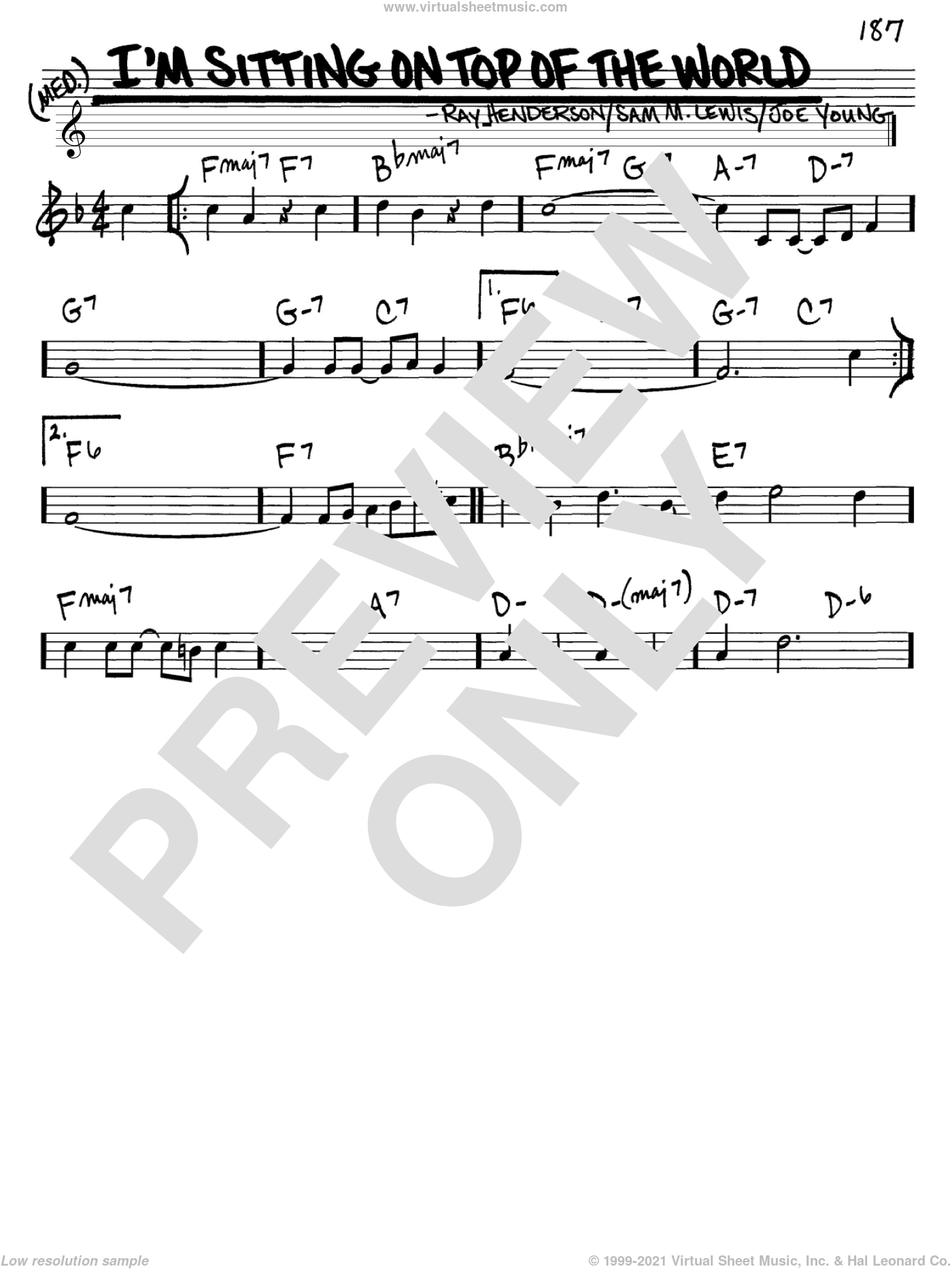 I'm Sitting On Top Of The World sheet music for voice and other instruments (C) by Ray Henderson, Joe Young and Sam Lewis. Score Image Preview.