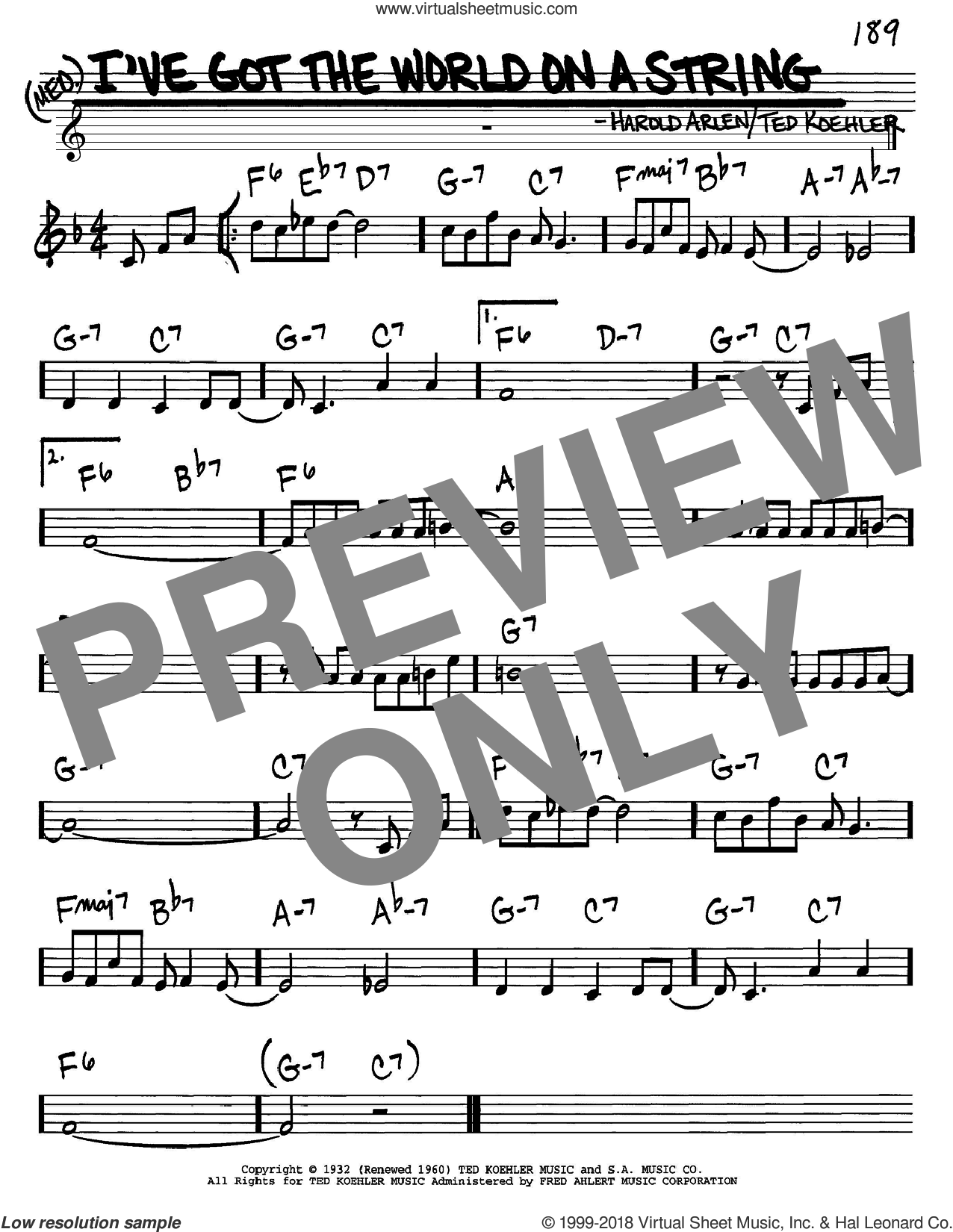 I've Got The World On A String sheet music for voice and other instruments (in C) by Harold Arlen and Ted Koehler, intermediate skill level