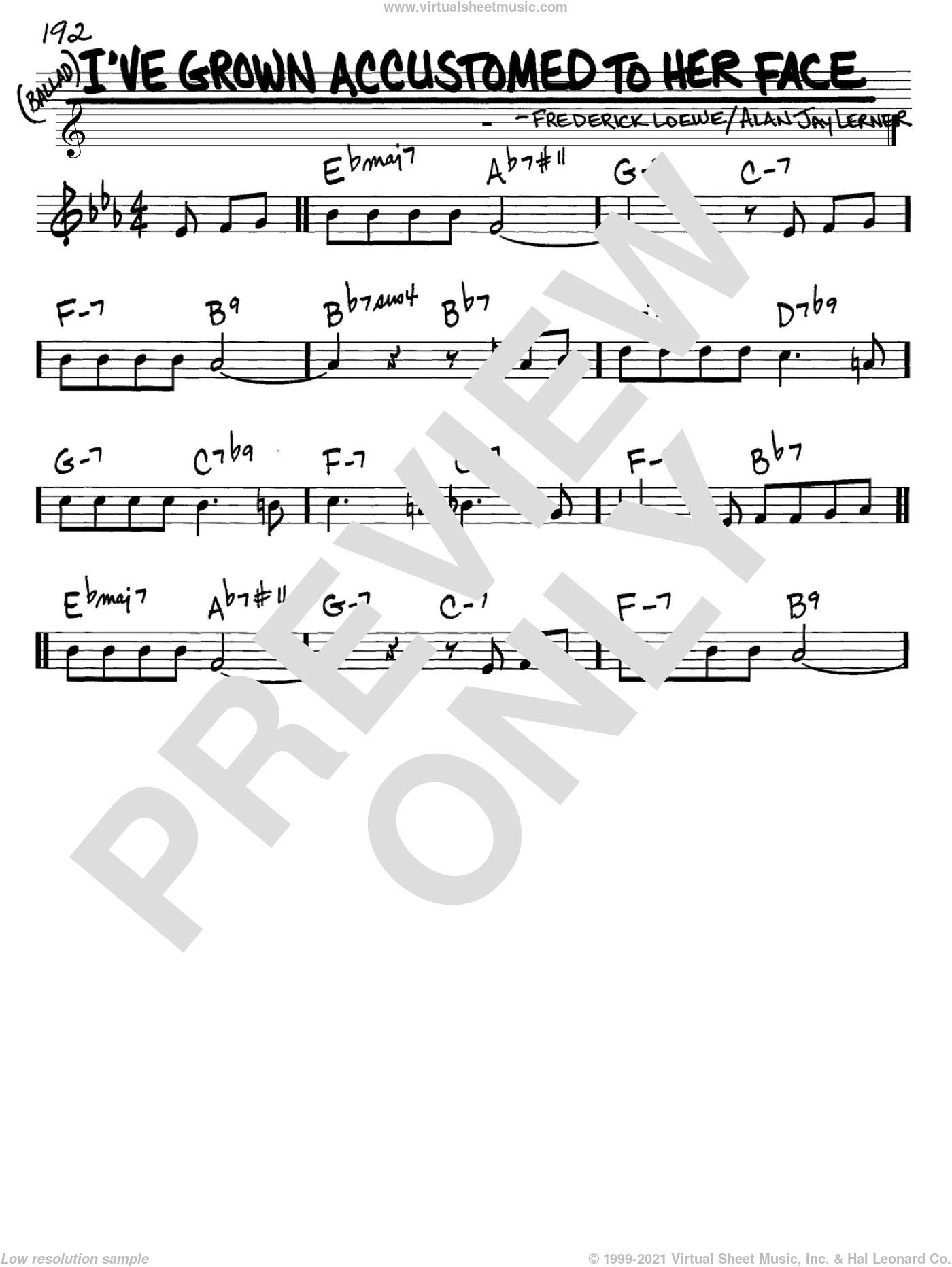 I've Grown Accustomed To Her Face sheet music for voice and other instruments (C) by Frederick Loewe, Lerner & Loewe and Alan Jay Lerner. Score Image Preview.
