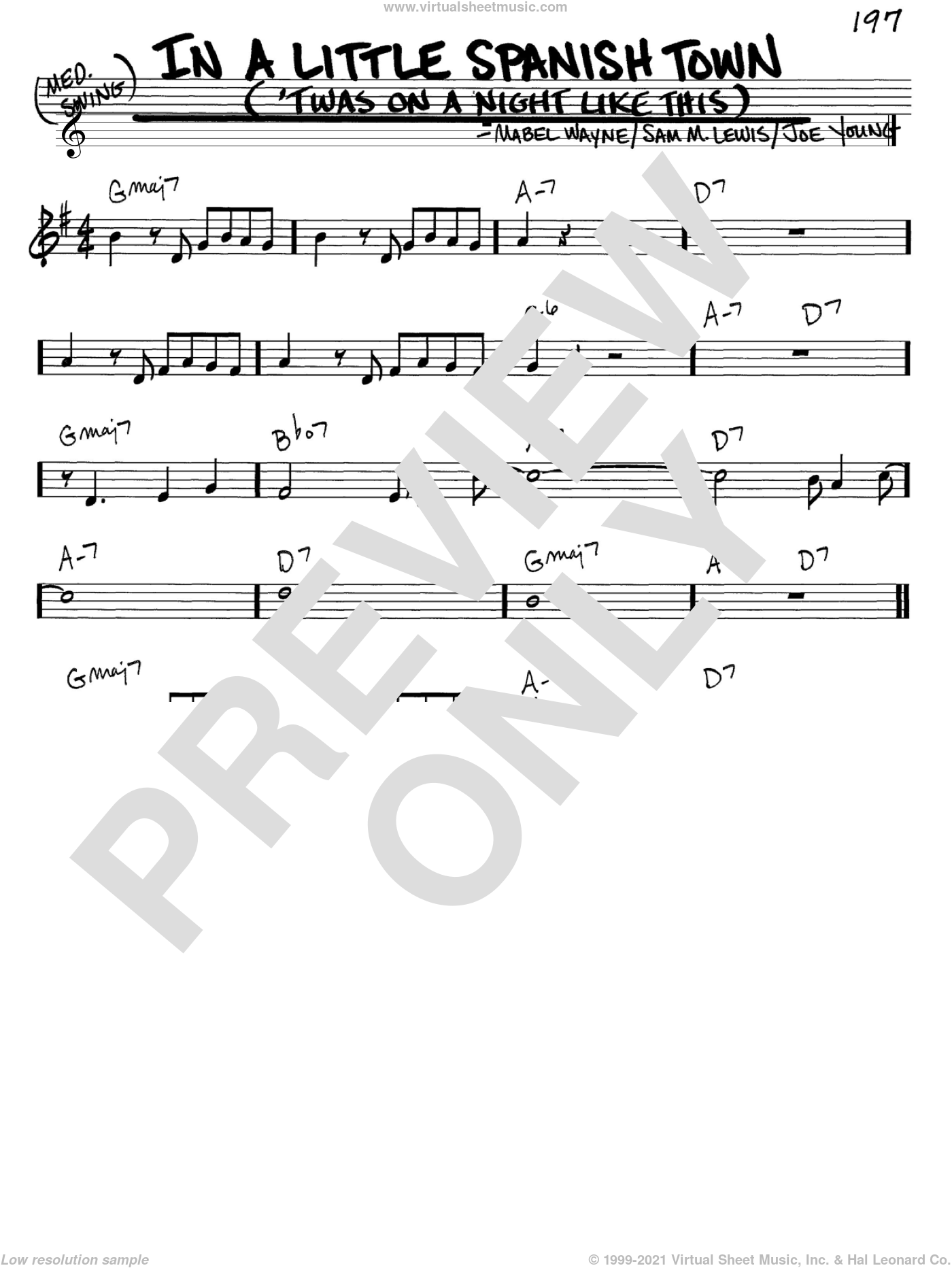 In A Little Spanish Town ('Twas On A Night Like This) sheet music for voice and other instruments (C) by Sam Lewis, Joe Young and Mabel Wayne, intermediate voice. Score Image Preview.