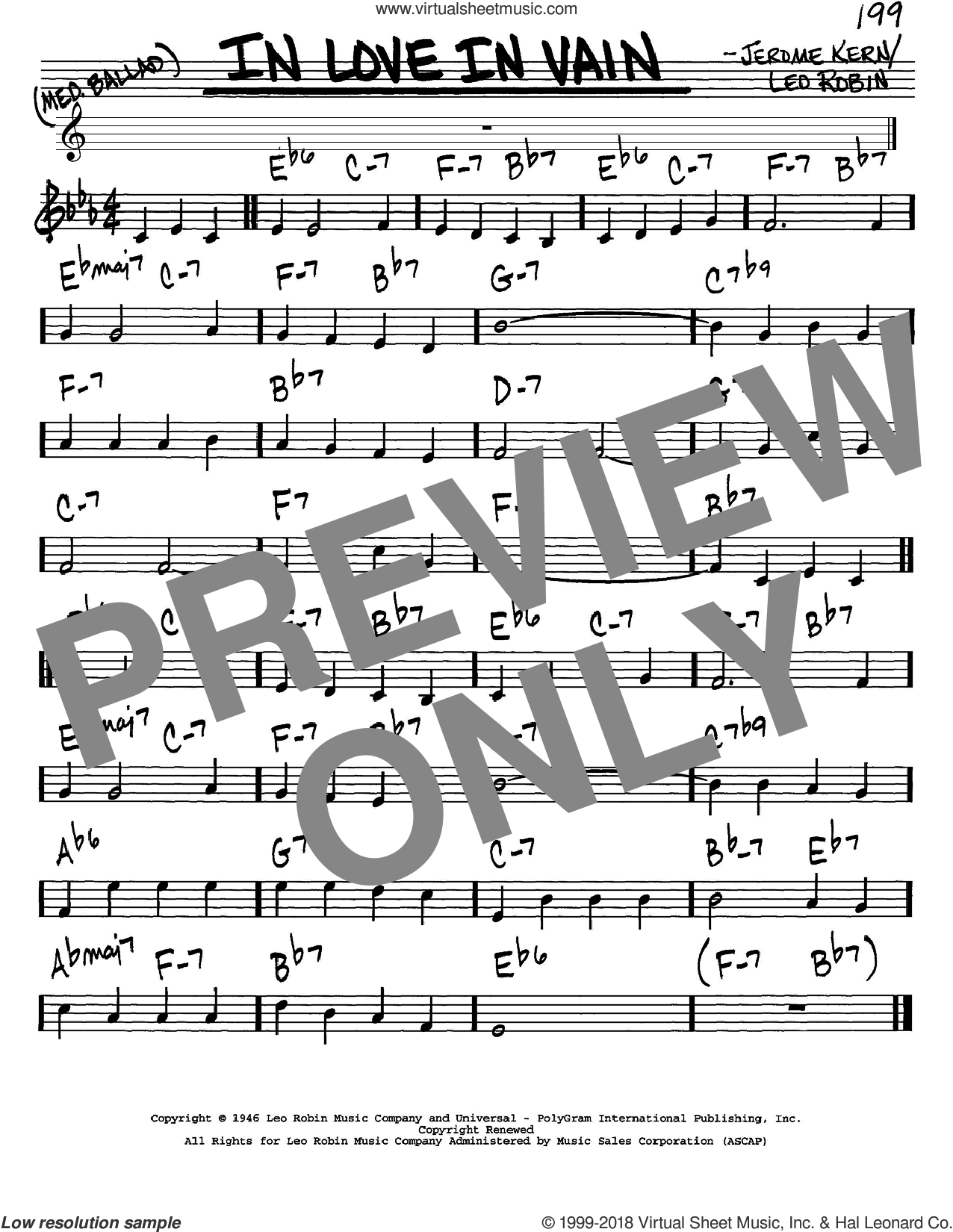 In Love In Vain sheet music for voice and other instruments (in C) by Jerome Kern and Leo Robin, intermediate skill level