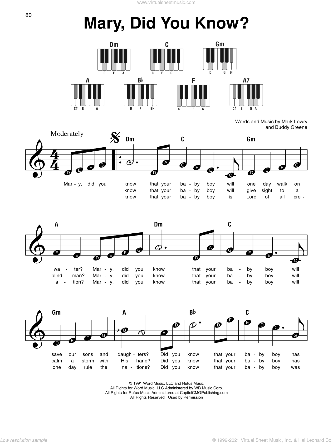 Mary, Did You Know? sheet music for piano solo by Mark Lowry, Kathy Mattea and Buddy Greene, beginner skill level