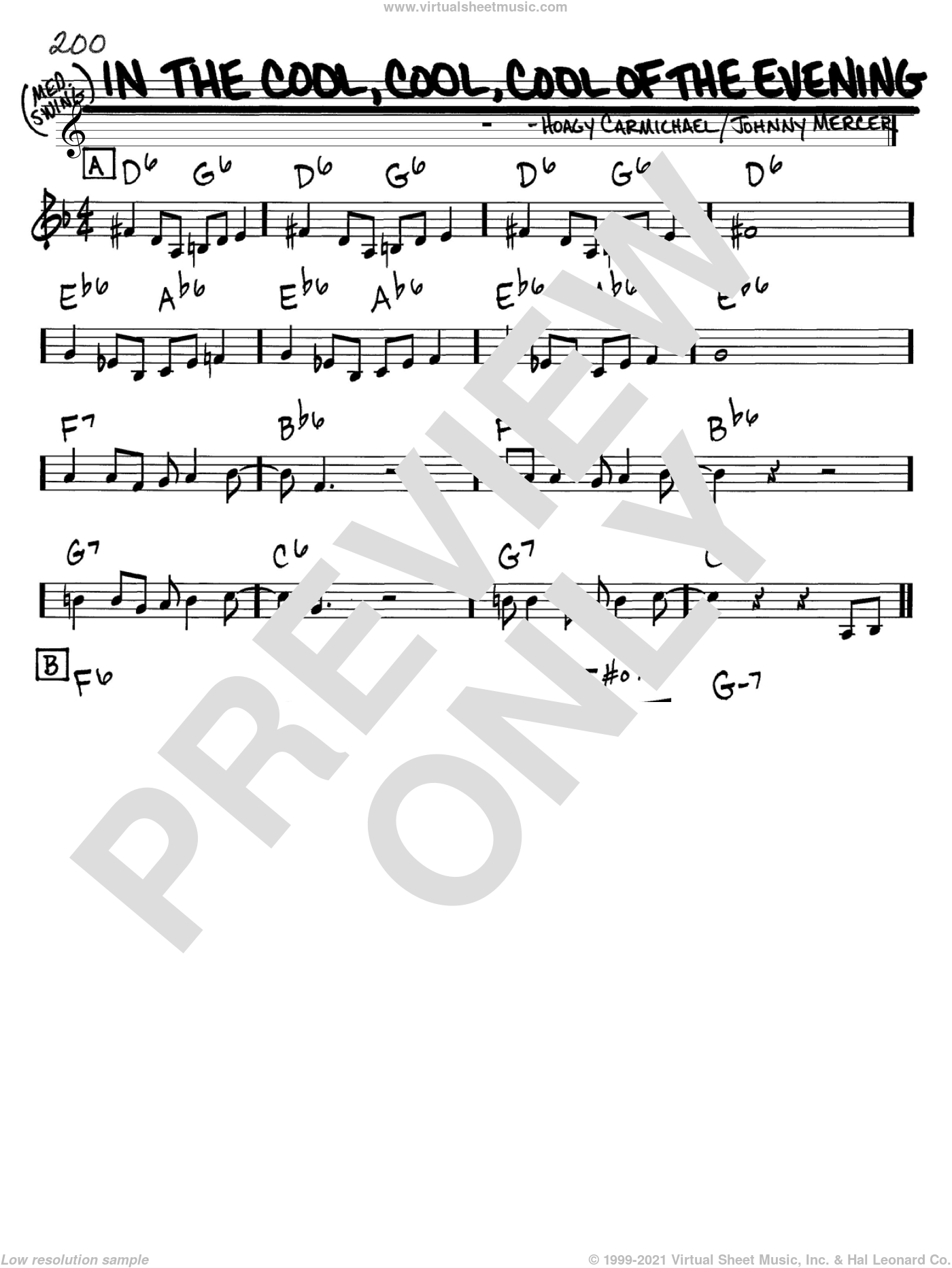 In The Cool, Cool, Cool Of The Evening sheet music for voice and other instruments (C) by Hoagy Carmichael and Johnny Mercer. Score Image Preview.