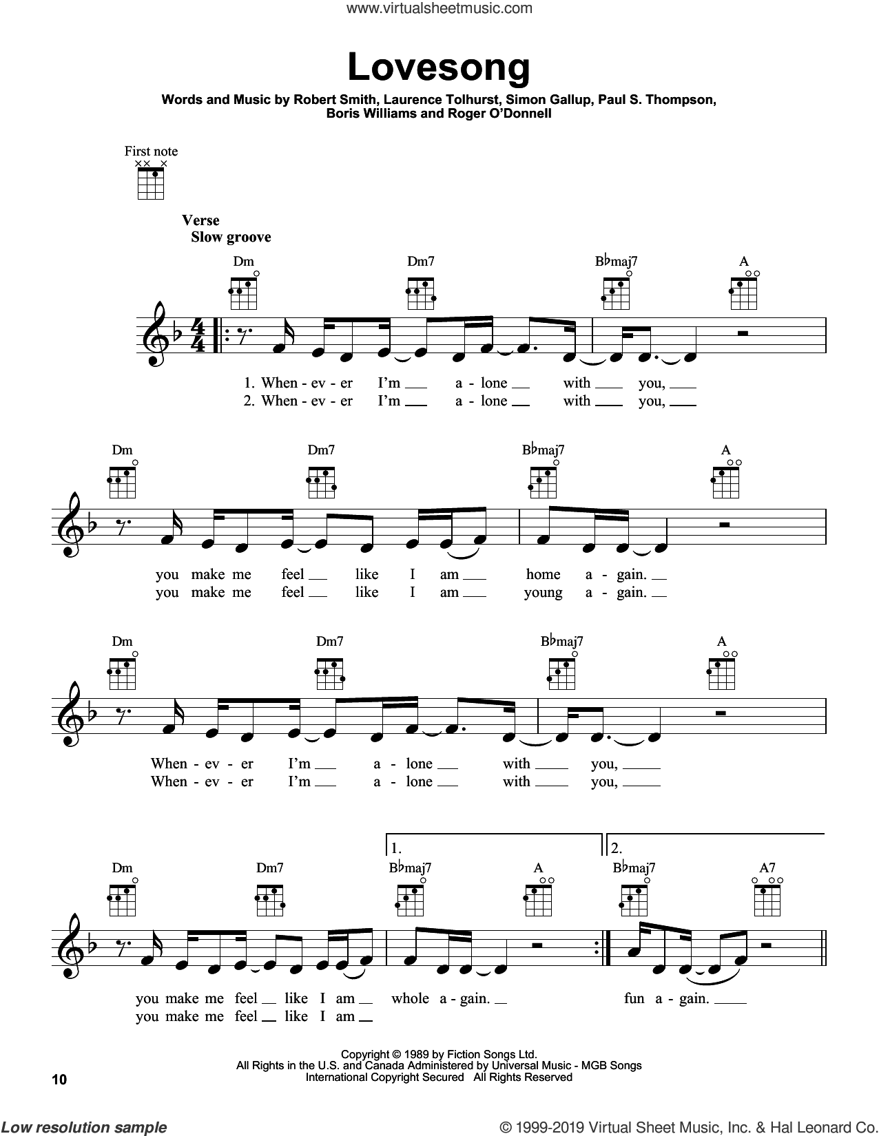 Lovesong sheet music for ukulele by Adele, The Cure, Boris Williams, Laurence Tolhurst, Paul S. Thompson, Robert Smith and Simon Gallup, intermediate skill level