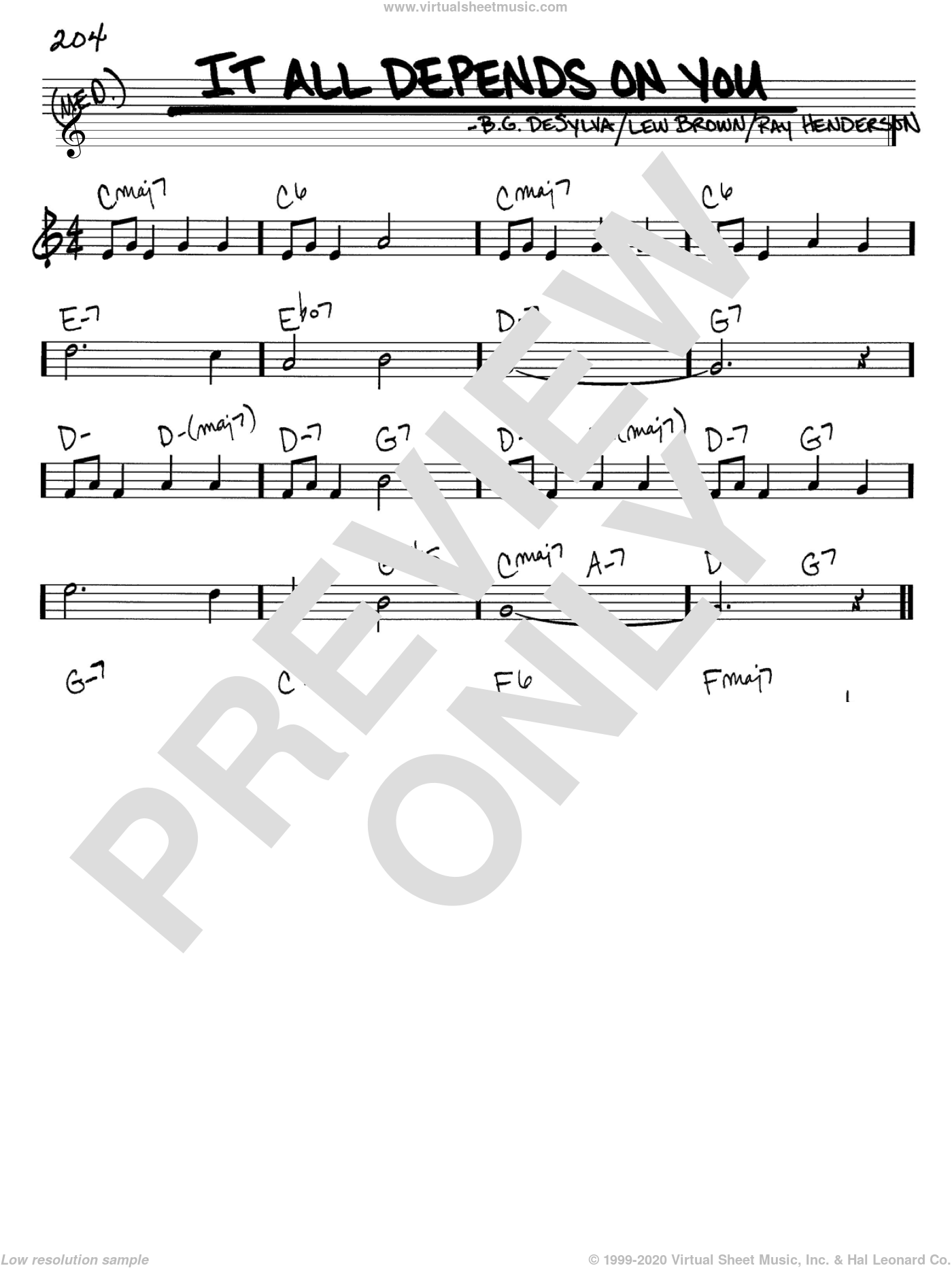 It All Depends On You sheet music for voice and other instruments (C) by Buddy DeSylva, Lew Brown and Ray Henderson. Score Image Preview.