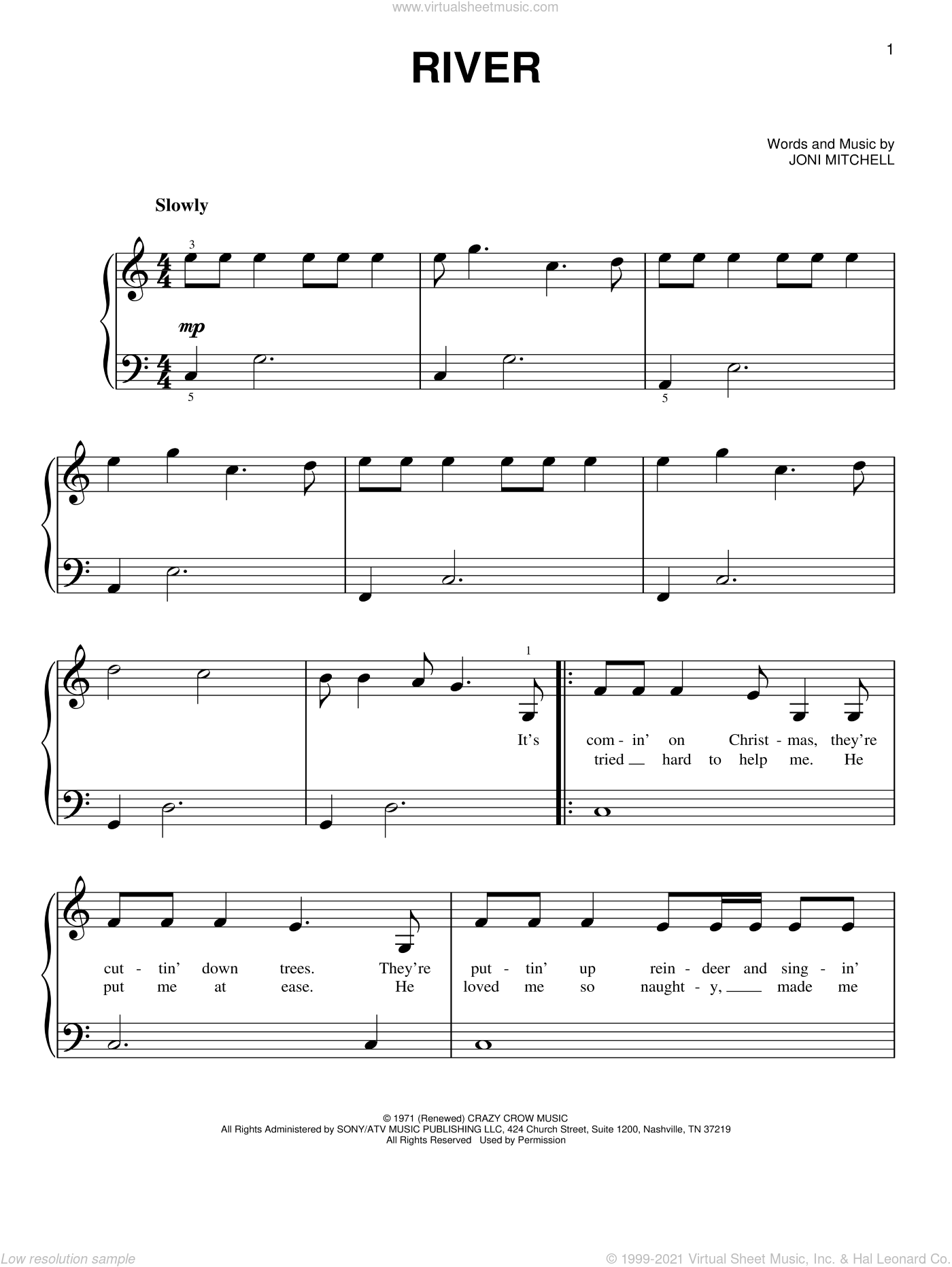 River sheet music for piano solo by Linda Ronstadt and Joni Mitchell, beginner skill level