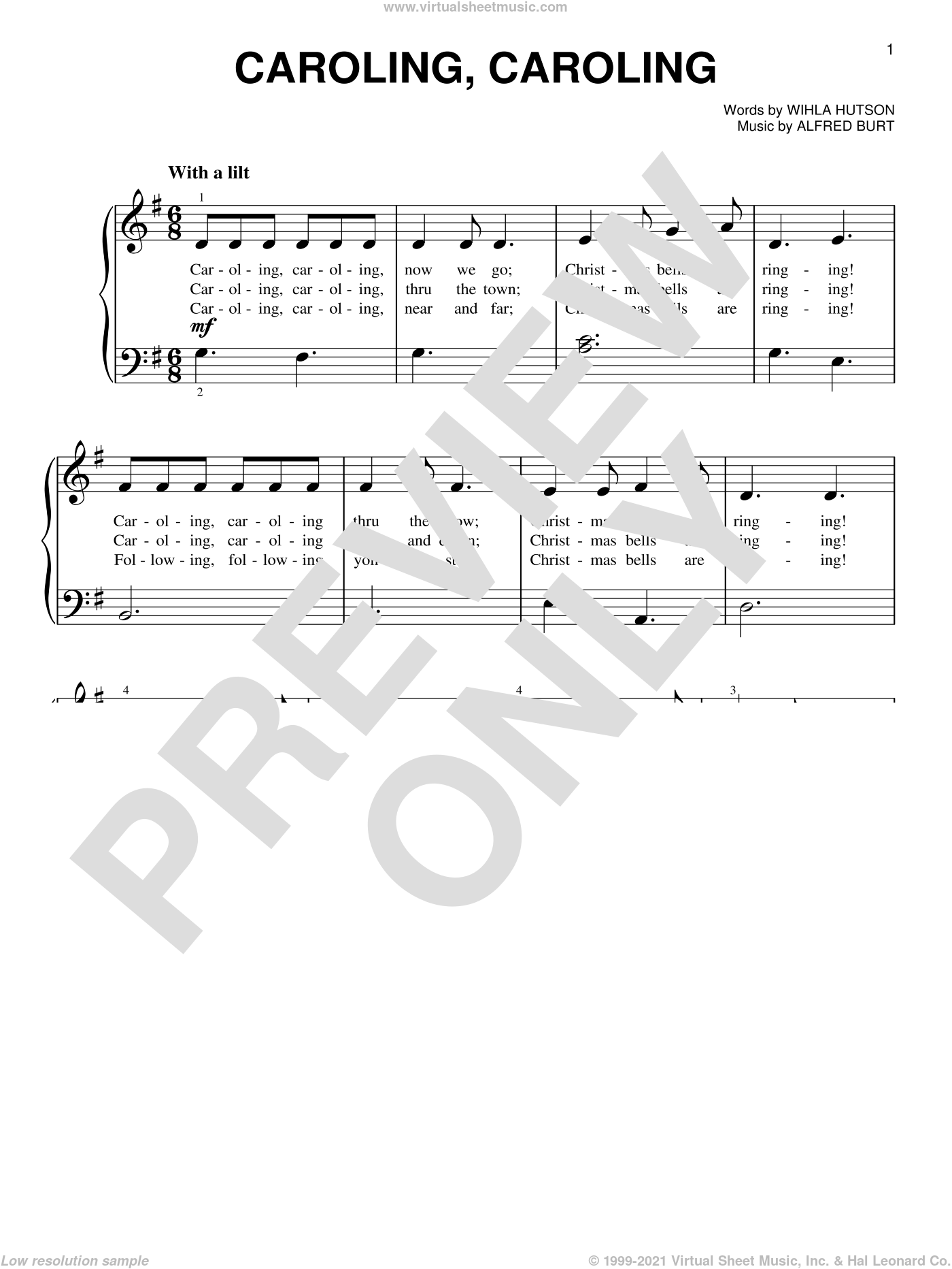 Caroling, Caroling sheet music for piano solo by Alfred Burt and Wihla Hutson, beginner skill level
