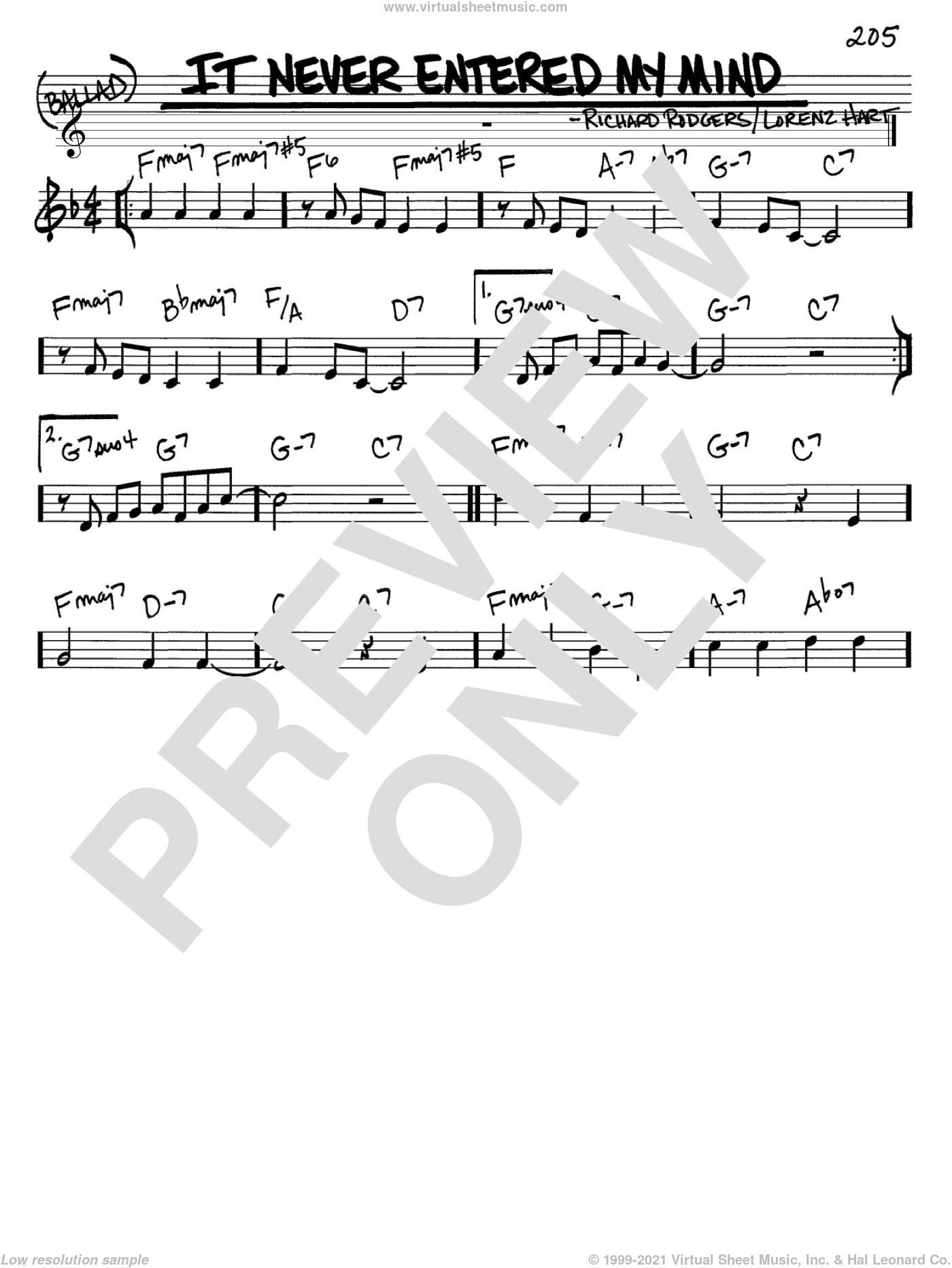 It Never Entered My Mind sheet music for voice and other instruments (C) by Richard Rodgers, Rodgers & Hart and Lorenz Hart. Score Image Preview.