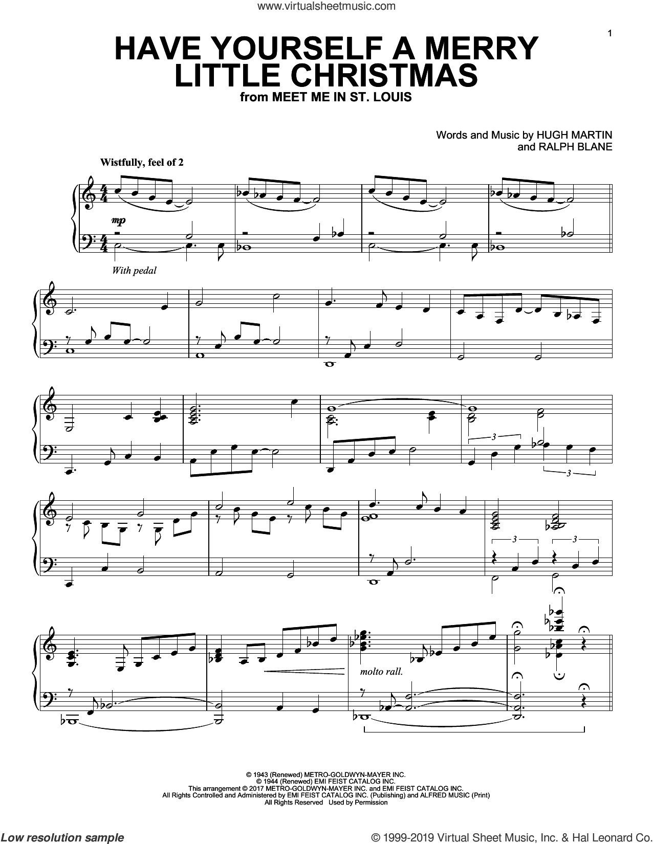 Have Yourself A Merry Little Christmas [Jazz version] sheet music for piano solo by Hugh Martin and Ralph Blane, intermediate skill level