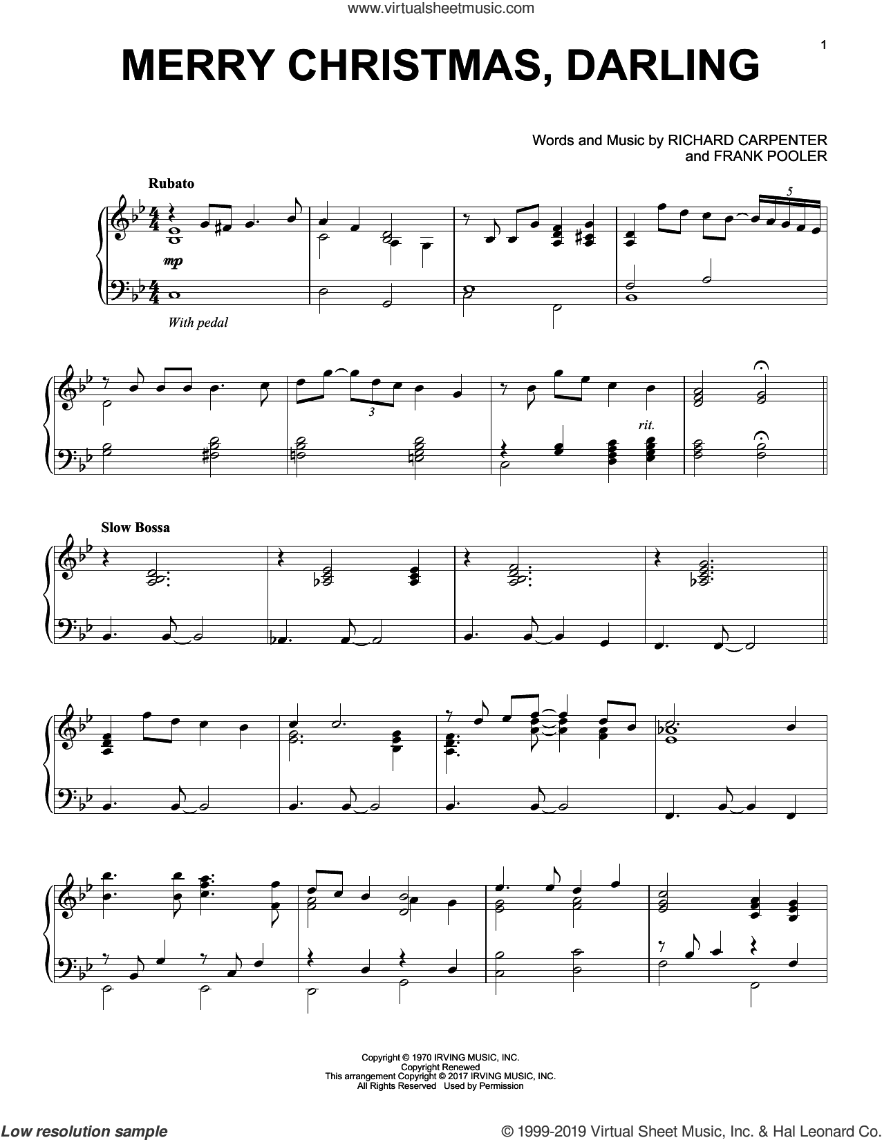 Merry Christmas, Darling [Jazz version] sheet music for piano solo by Richard Carpenter and Frank Pooler, intermediate skill level