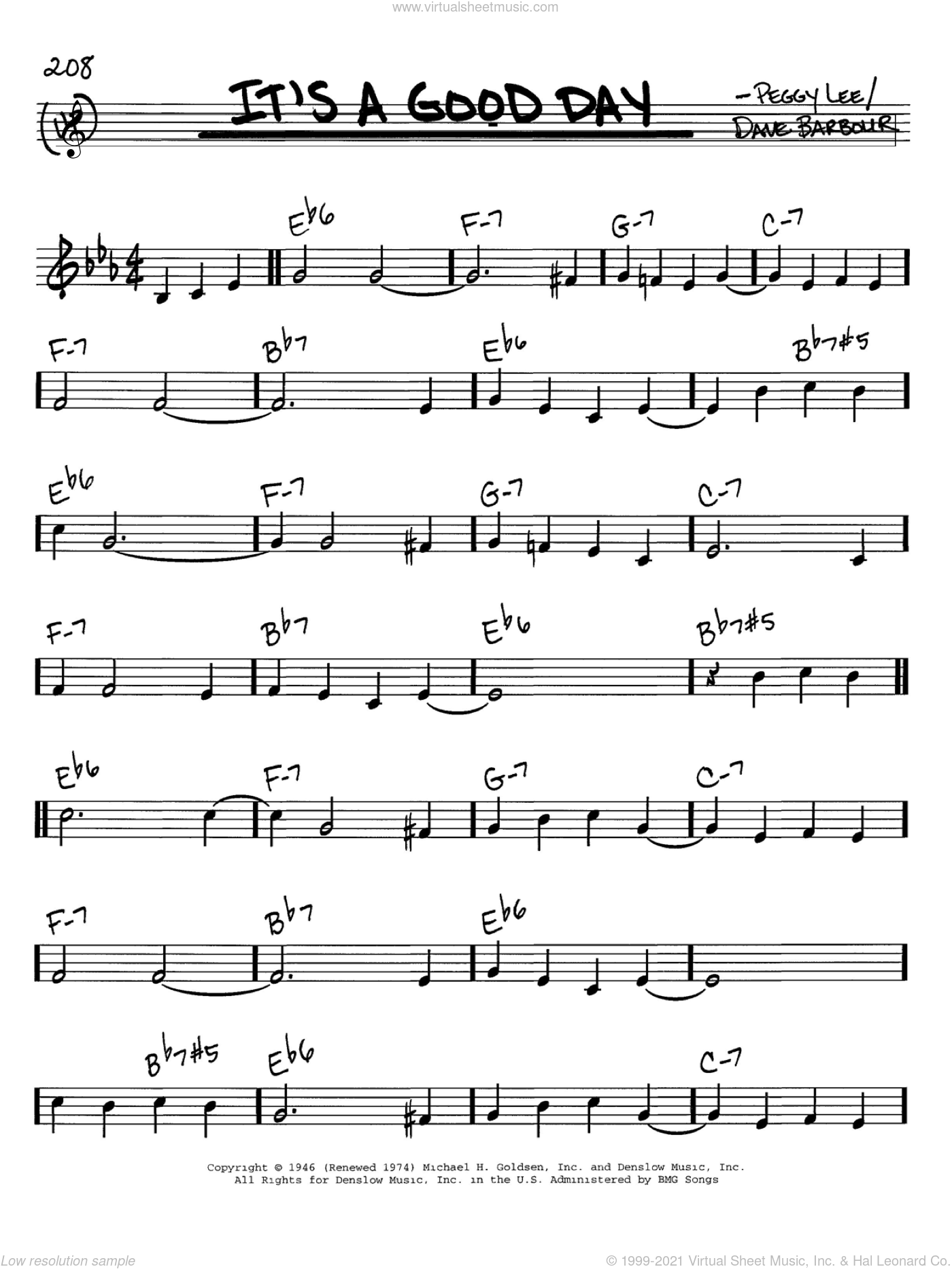It's A Good Day sheet music for voice and other instruments (in C) by Peggy Lee and Dave Barbour, intermediate