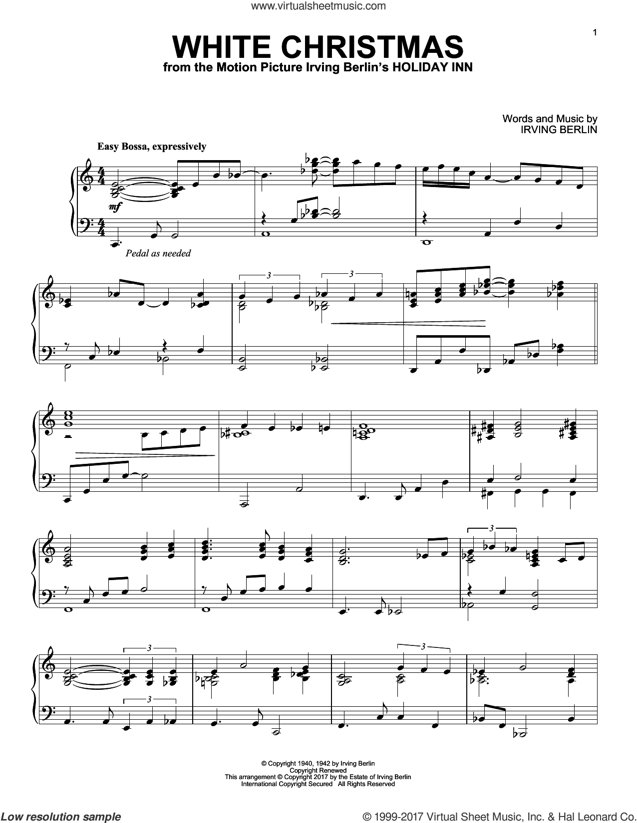 White Christmas [Jazz version] sheet music for piano solo by Irving Berlin, intermediate skill level