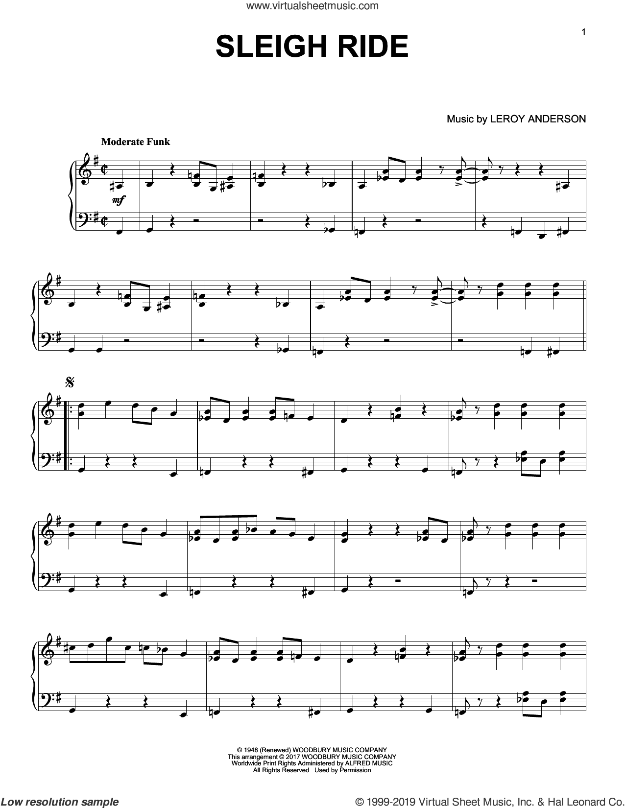 Sleigh Ride [Jazz version] sheet music for piano solo by Mitchell Parish and Leroy Anderson, intermediate skill level
