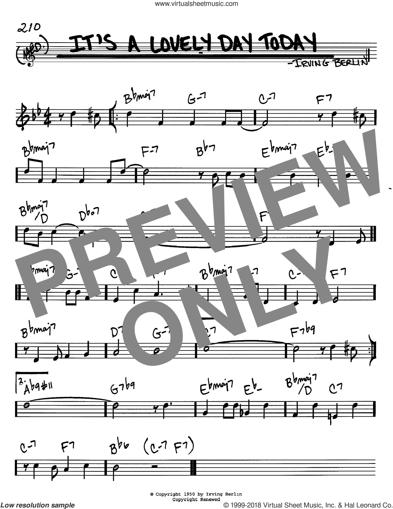 It's A Lovely Day Today sheet music for voice and other instruments (in C) by Irving Berlin, intermediate skill level