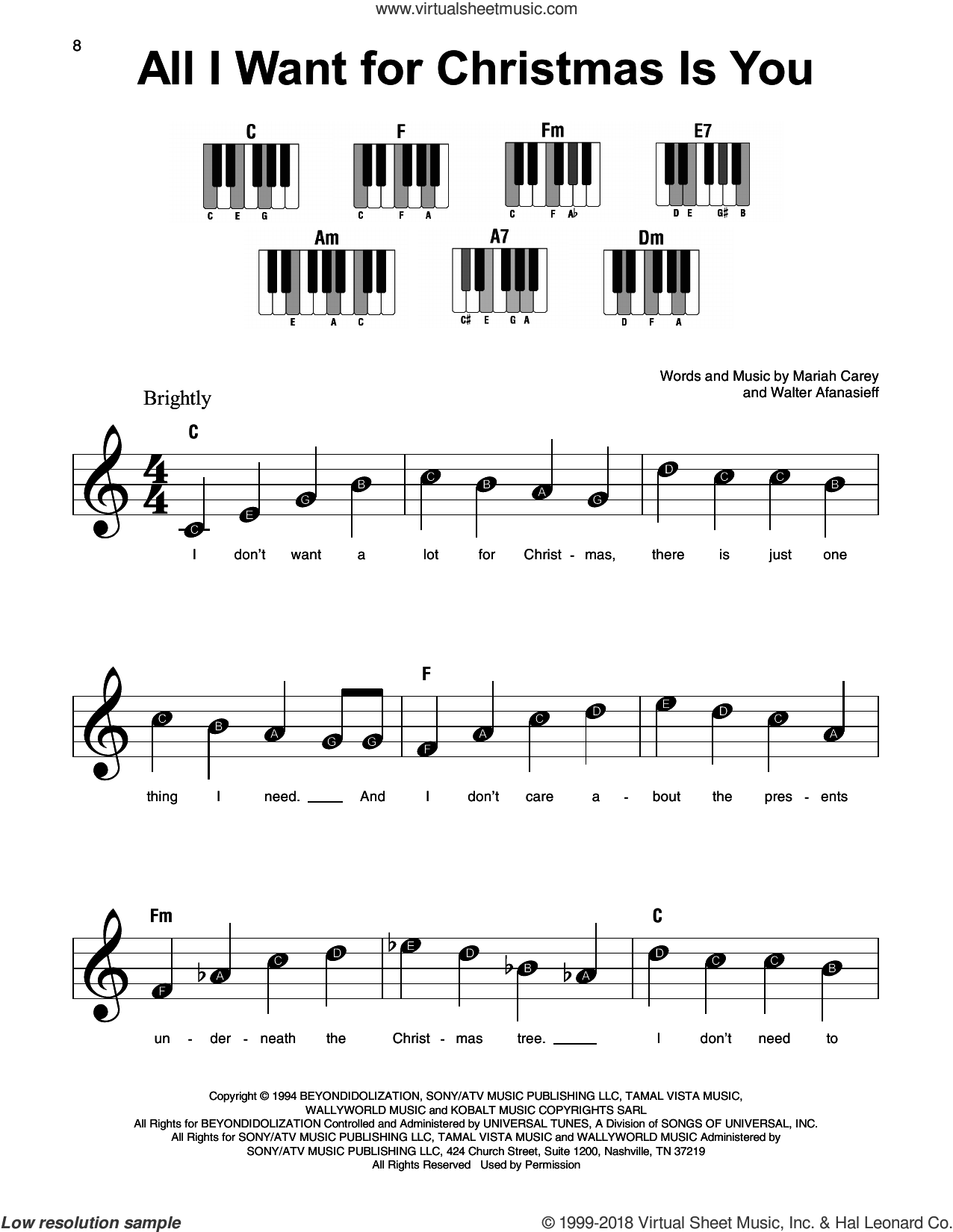 All I Want For Christmas Is You sheet music for piano solo by Mariah Carey and Walter Afanasieff, beginner skill level