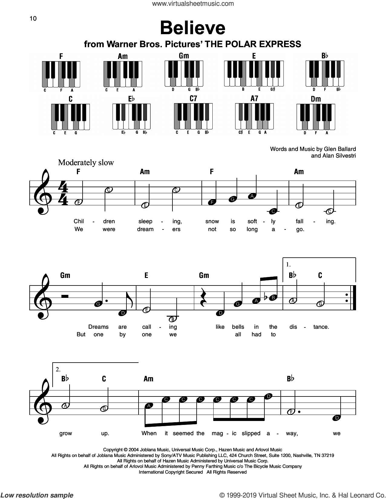 Believe (from The Polar Express) sheet music for piano solo by Josh Groban, Alan Silvestri and Glen Ballard, beginner skill level