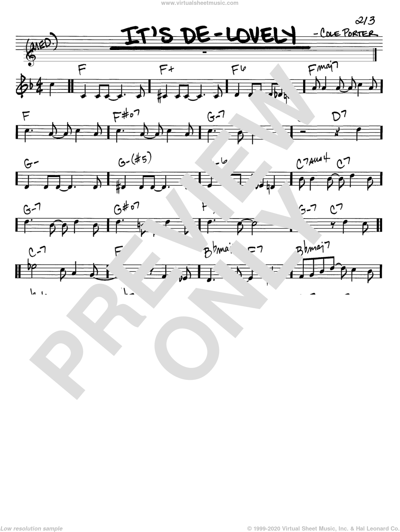 It's De-Lovely sheet music for voice and other instruments (in C) by Cole Porter, intermediate. Score Image Preview.