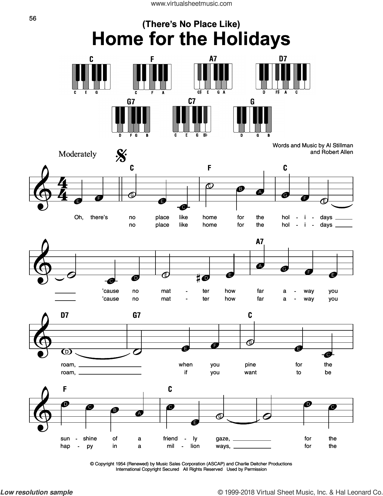 (There's No Place Like) Home For The Holidays sheet music for piano solo by Perry Como, Al Stillman and Robert Allen, beginner skill level