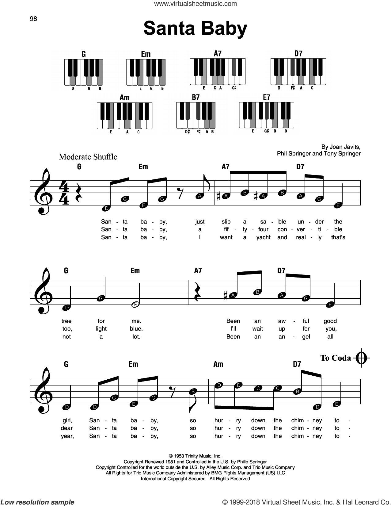 Santa Baby sheet music for piano solo by Eartha Kitt, Kellie Pickler, Taylor Swift, Joan Javits, Phil Springer and Tony Springer, beginner skill level