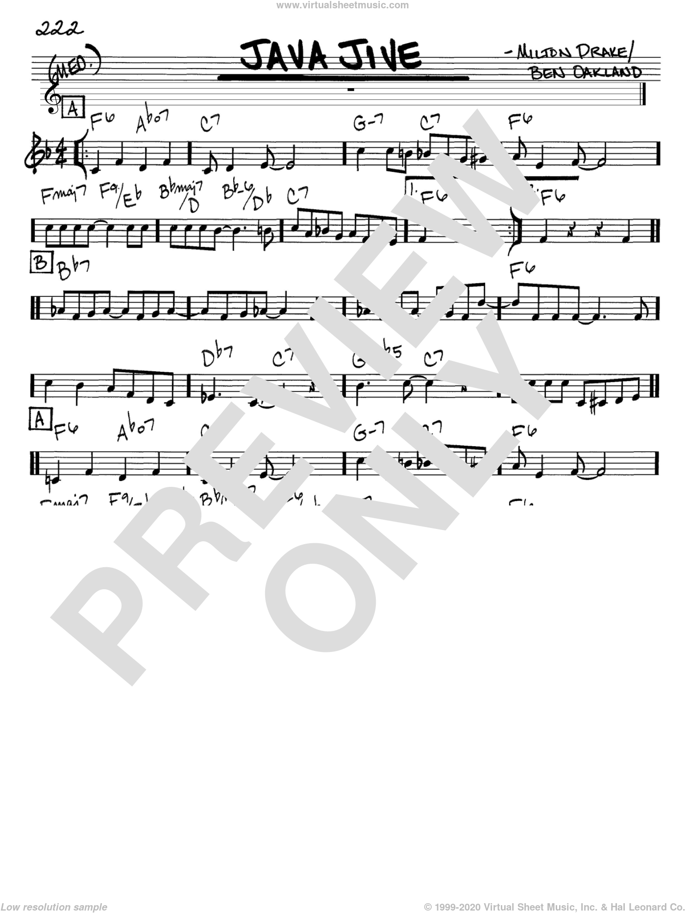 Java Jive sheet music for voice and other instruments (in C) by The Ink Spots, Ben Oakland and Milton Drake, intermediate. Score Image Preview.