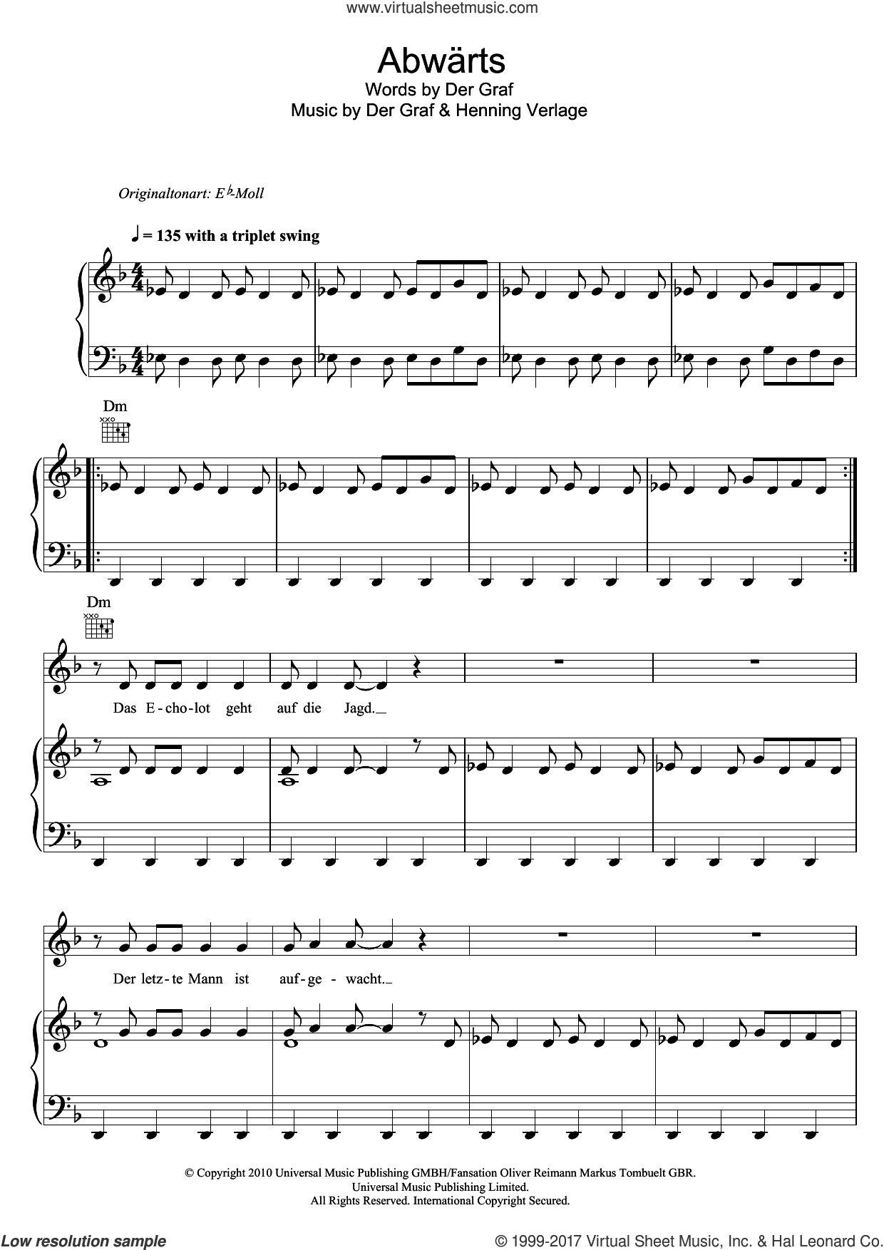 Abwarts sheet music for voice, piano or guitar by Unheilig, Der Graf and Henning Verlage, intermediate skill level