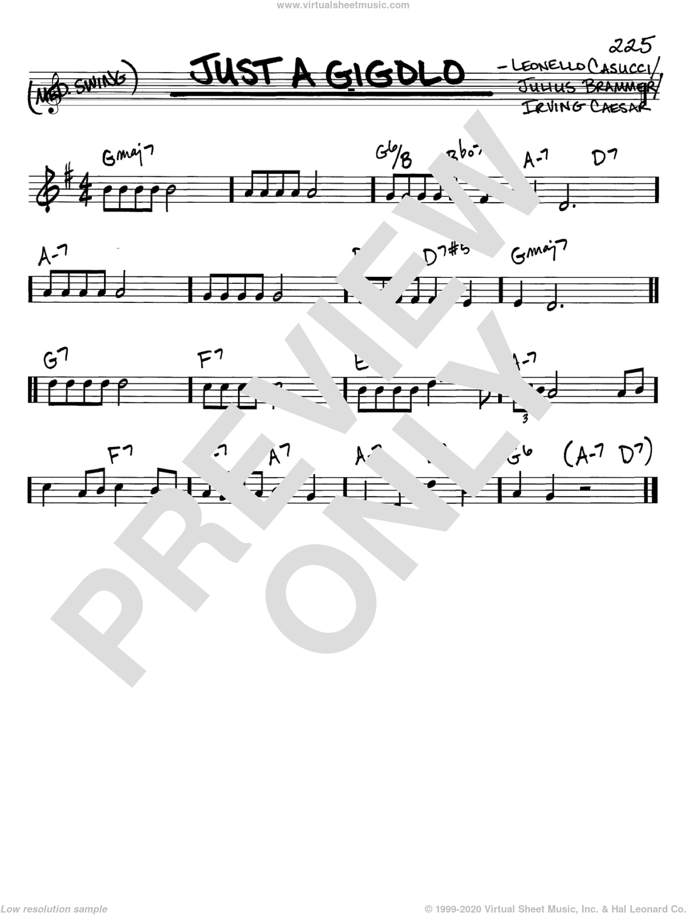Just A Gigolo sheet music for voice and other instruments (C) by Leonello Casucci, Louis Armstrong and Irving Caesar. Score Image Preview.