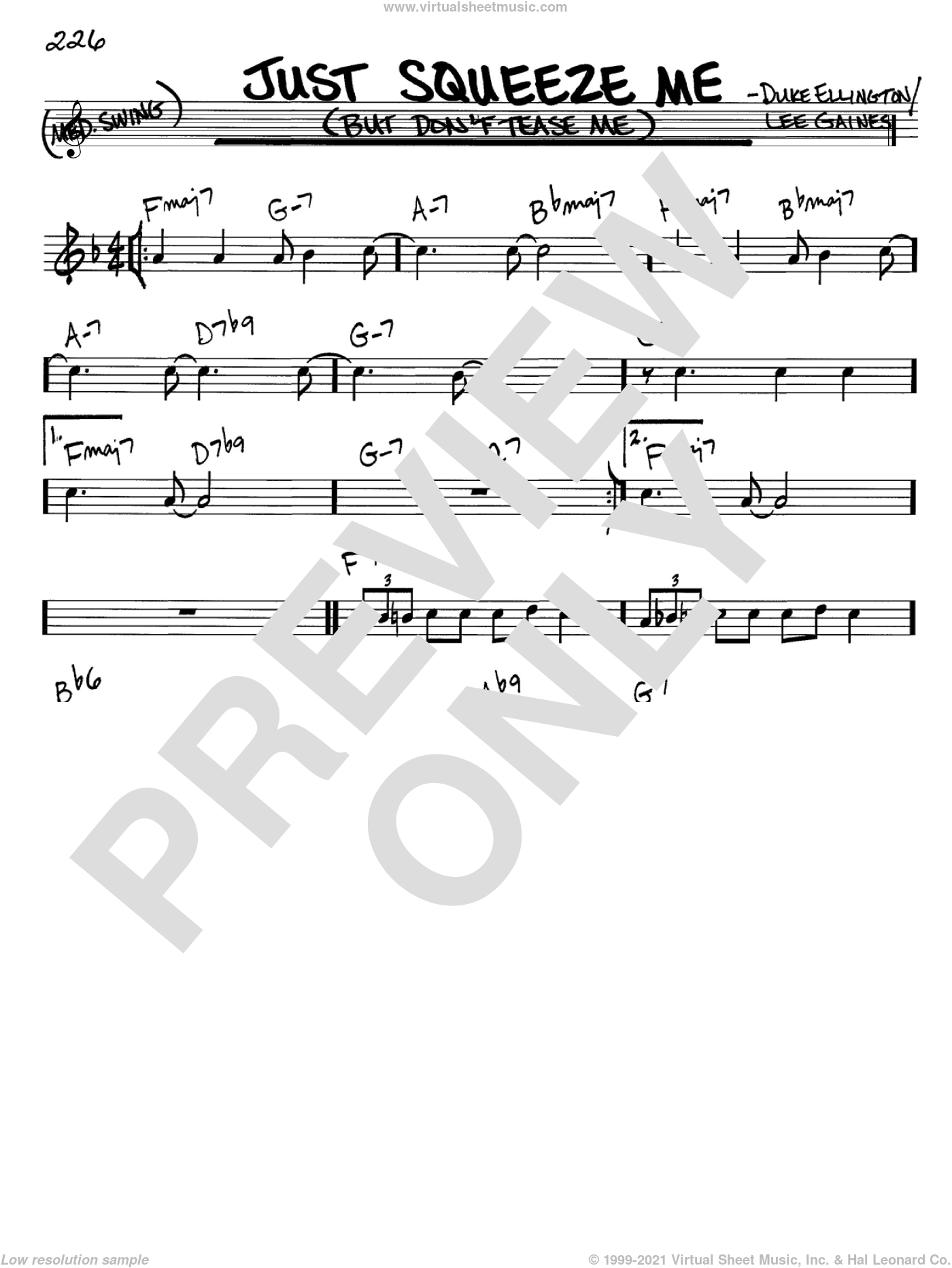 Just Squeeze Me (But Don't Tease Me) sheet music for voice and other instruments (C) by Lee Gaines and Duke Ellington. Score Image Preview.