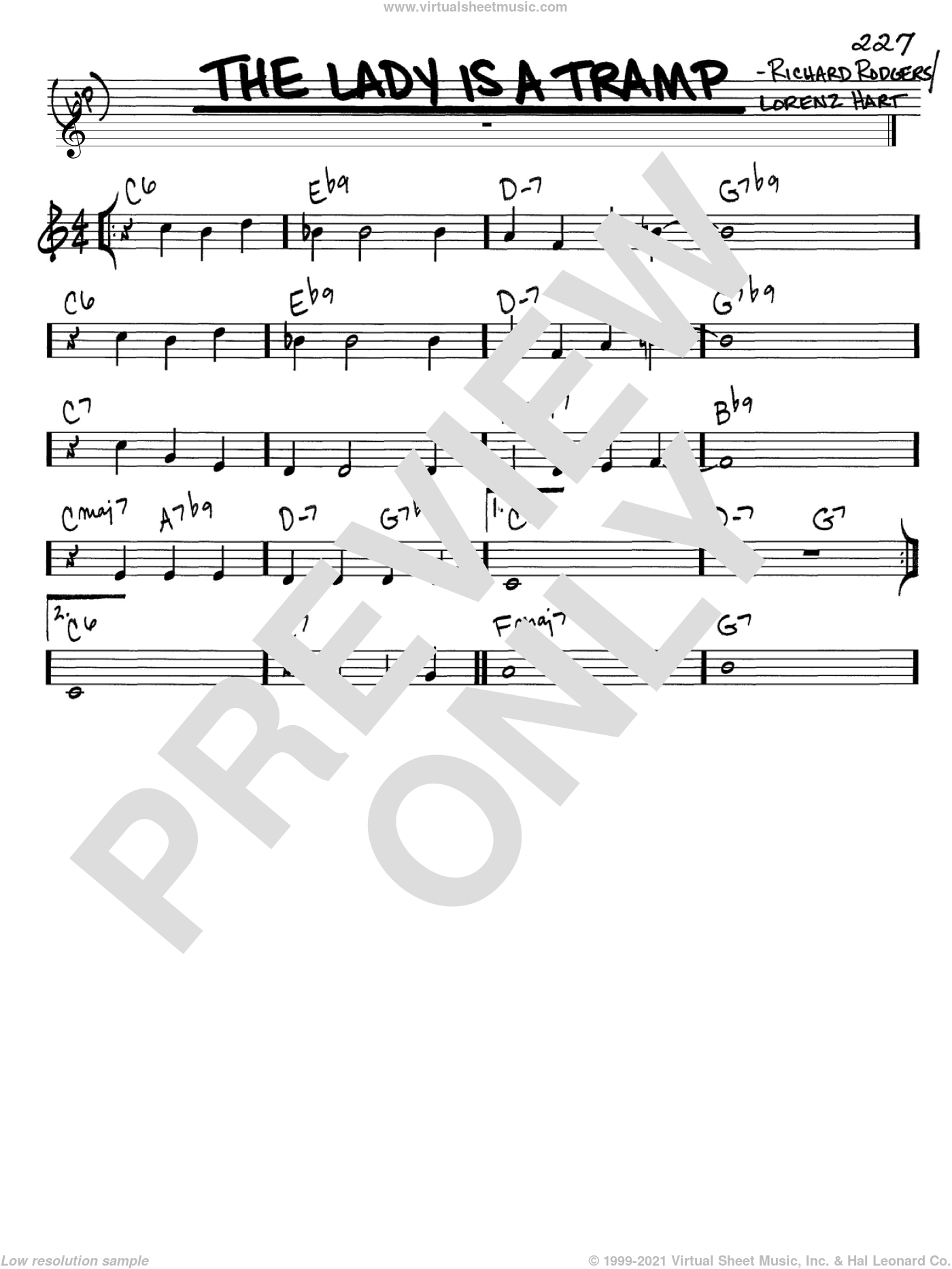 The Lady Is A Tramp sheet music for voice and other instruments (C) by Richard Rodgers, Rodgers & Hart and Lorenz Hart. Score Image Preview.