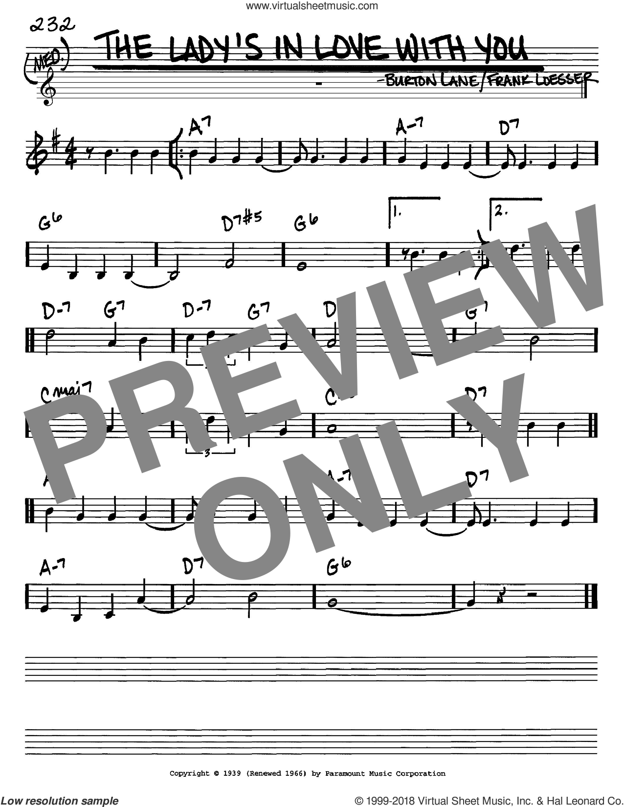 The Lady's In Love With You sheet music for voice and other instruments (C) by Benny Goodman, Burton Lane and Frank Loesser, intermediate voice. Score Image Preview.