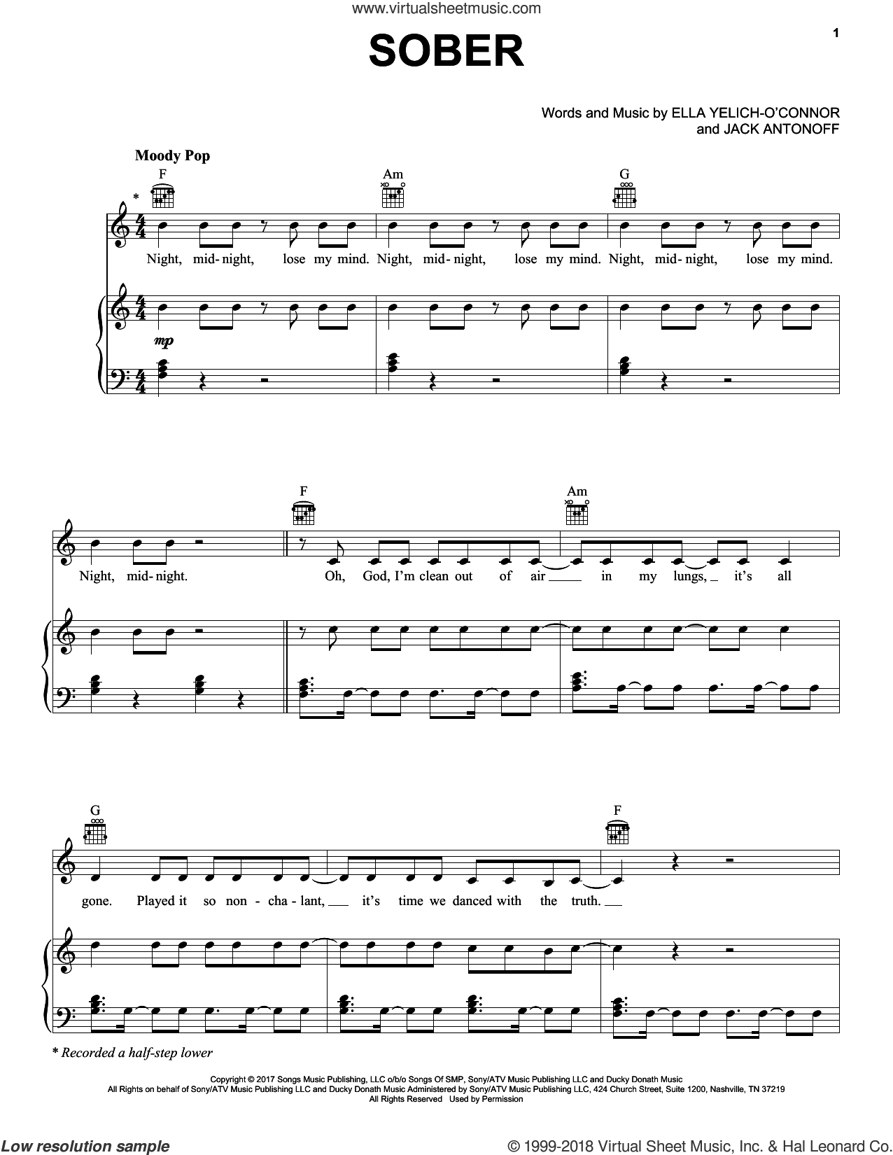 Sober sheet music for voice, piano or guitar by Lorde and Jack Antonoff, intermediate skill level