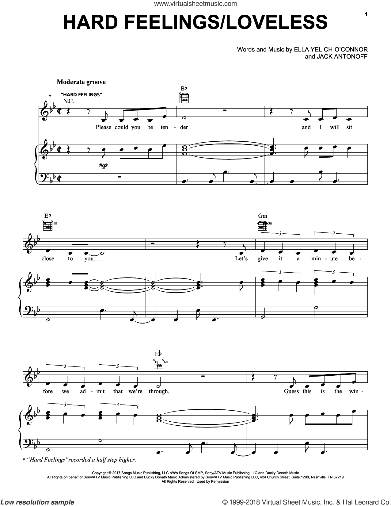 Hard Feelings/Loveless sheet music for voice, piano or guitar by Lorde and Jack Antonoff, intermediate skill level