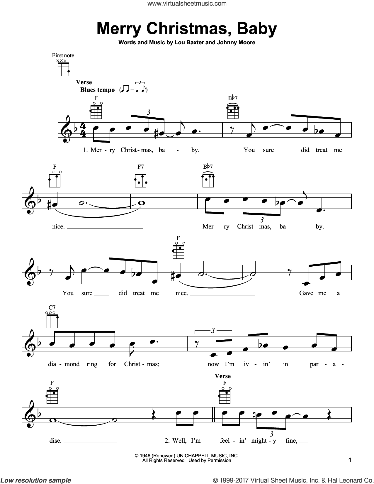 Merry Christmas, Baby sheet music for ukulele by Elvis Presley, Johnny Moore and Lou Baxter, intermediate skill level