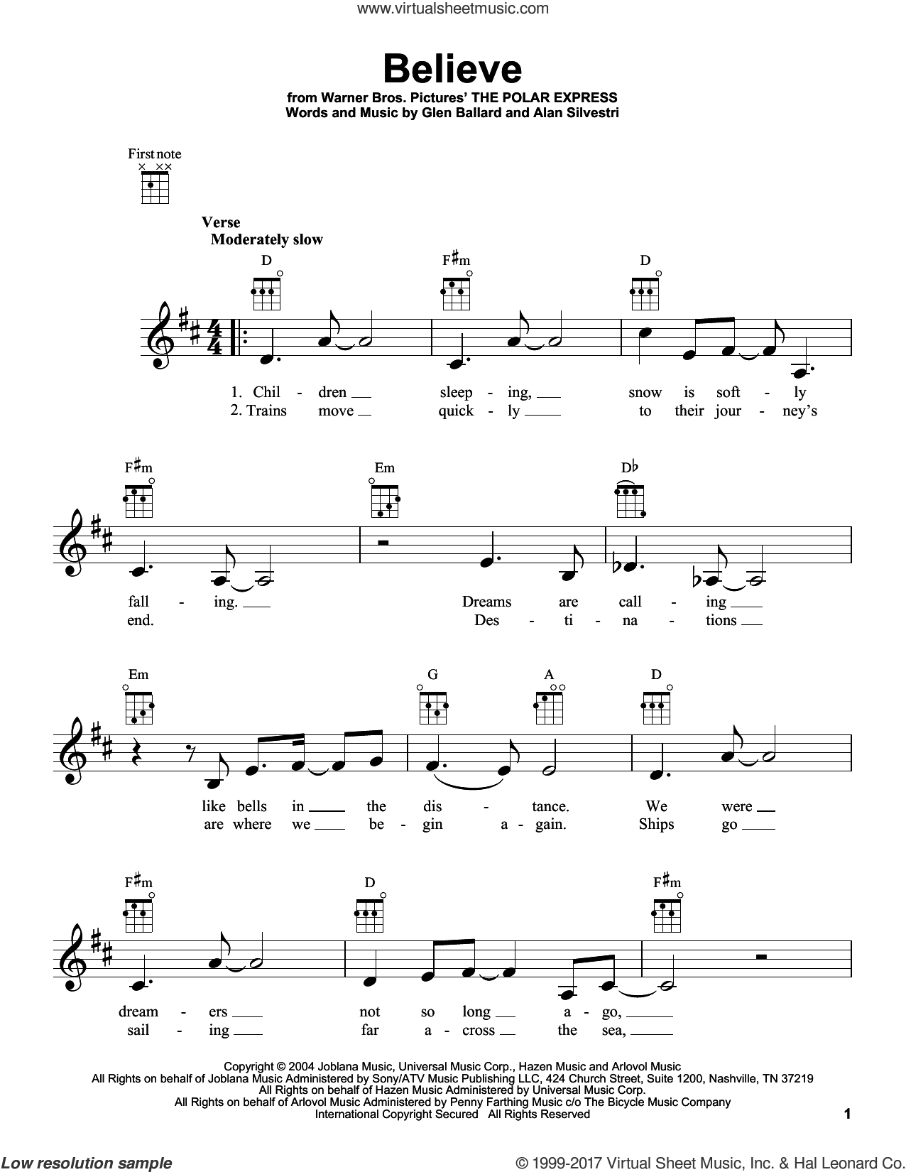 Believe sheet music for ukulele by Glen Ballard, Josh Groban and Alan Silvestri. Score Image Preview.