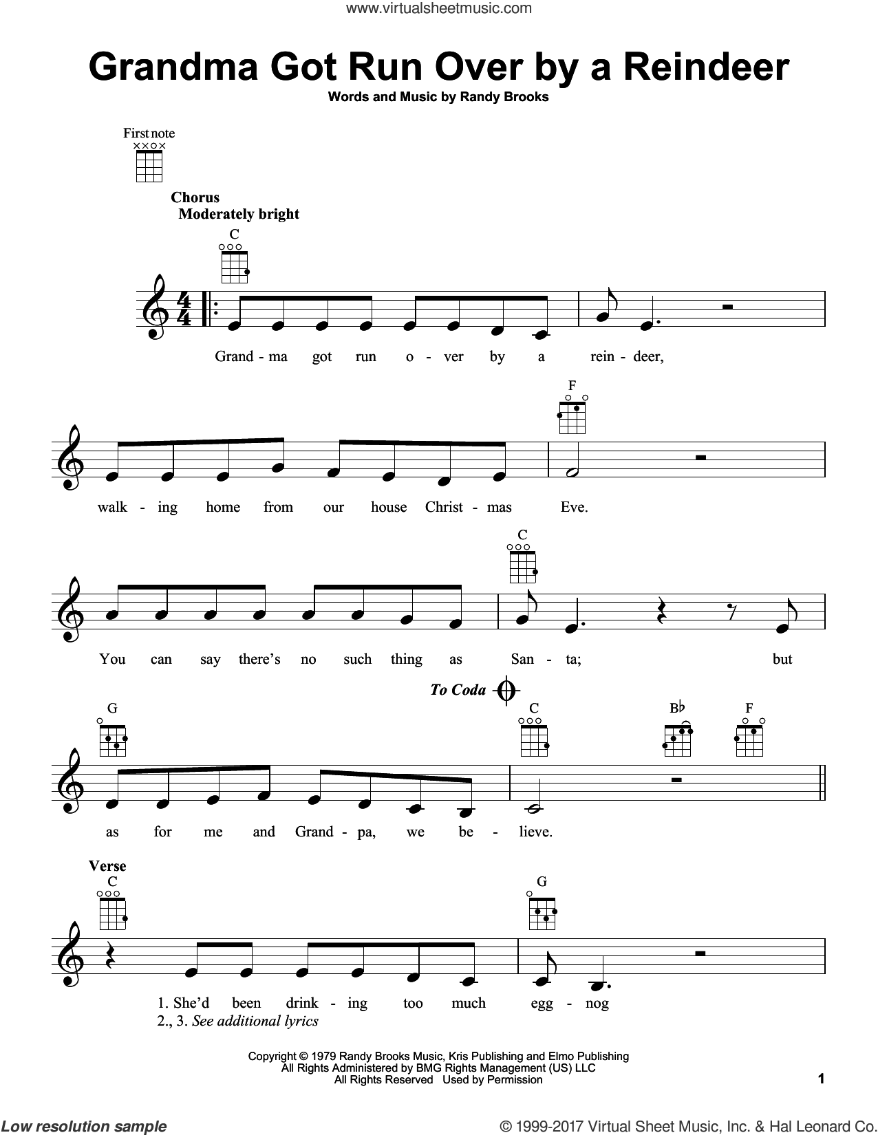 Grandma Got Run Over By A Reindeer sheet music for ukulele by Randy Brooks, intermediate skill level