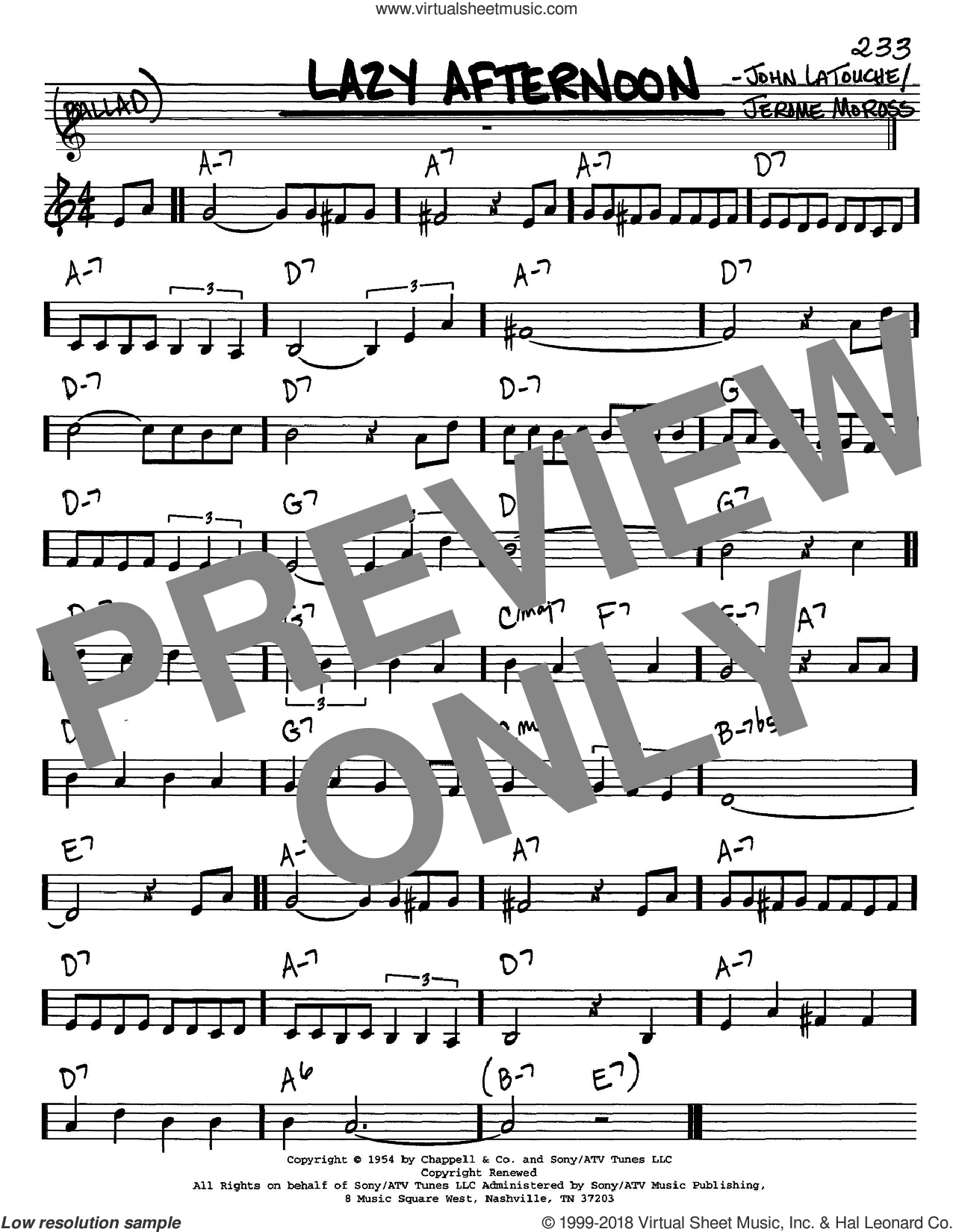 Lazy Afternoon sheet music for voice and other instruments (in C) by Barbra Streisand, Jerome Moross and John Latouche, intermediate. Score Image Preview.