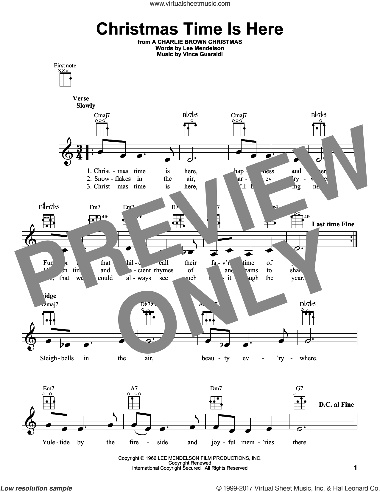 Christmas Time Is Here sheet music for ukulele by Vince Guaraldi and Lee Mendelson, intermediate skill level