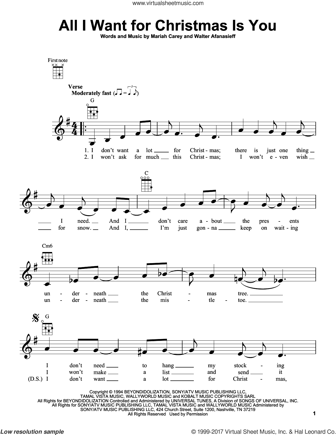 All I Want For Christmas Is You sheet music for ukulele by Mariah Carey and Walter Afanasieff, intermediate skill level
