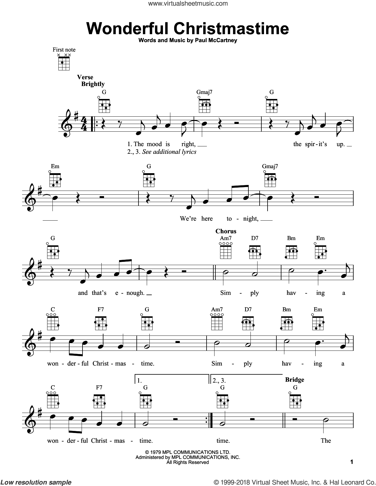 Wonderful Christmastime sheet music for ukulele by Paul McCartney, intermediate skill level