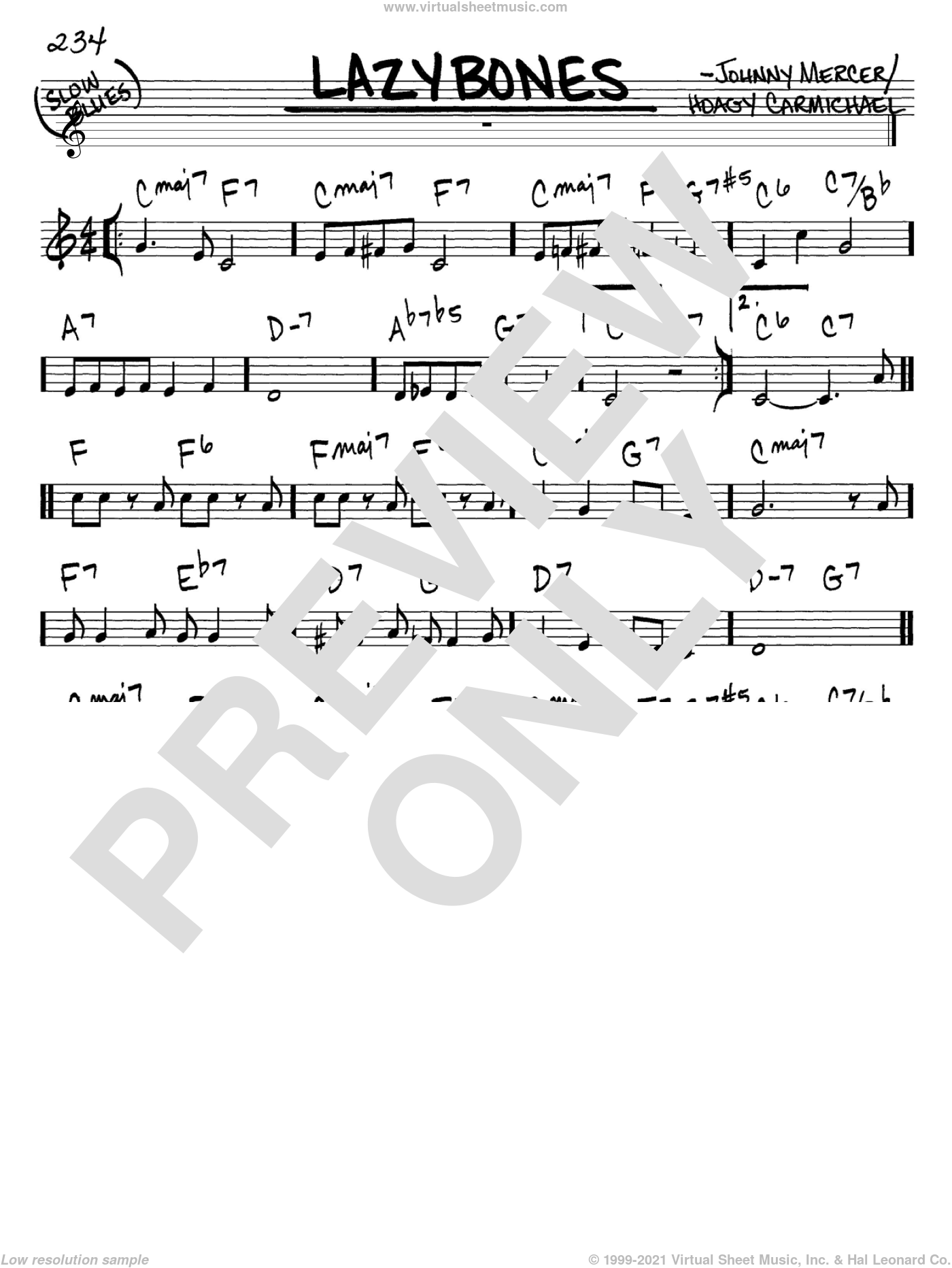 Lazybones sheet music for voice and other instruments (in C) by Hoagy Carmichael and Johnny Mercer, intermediate. Score Image Preview.