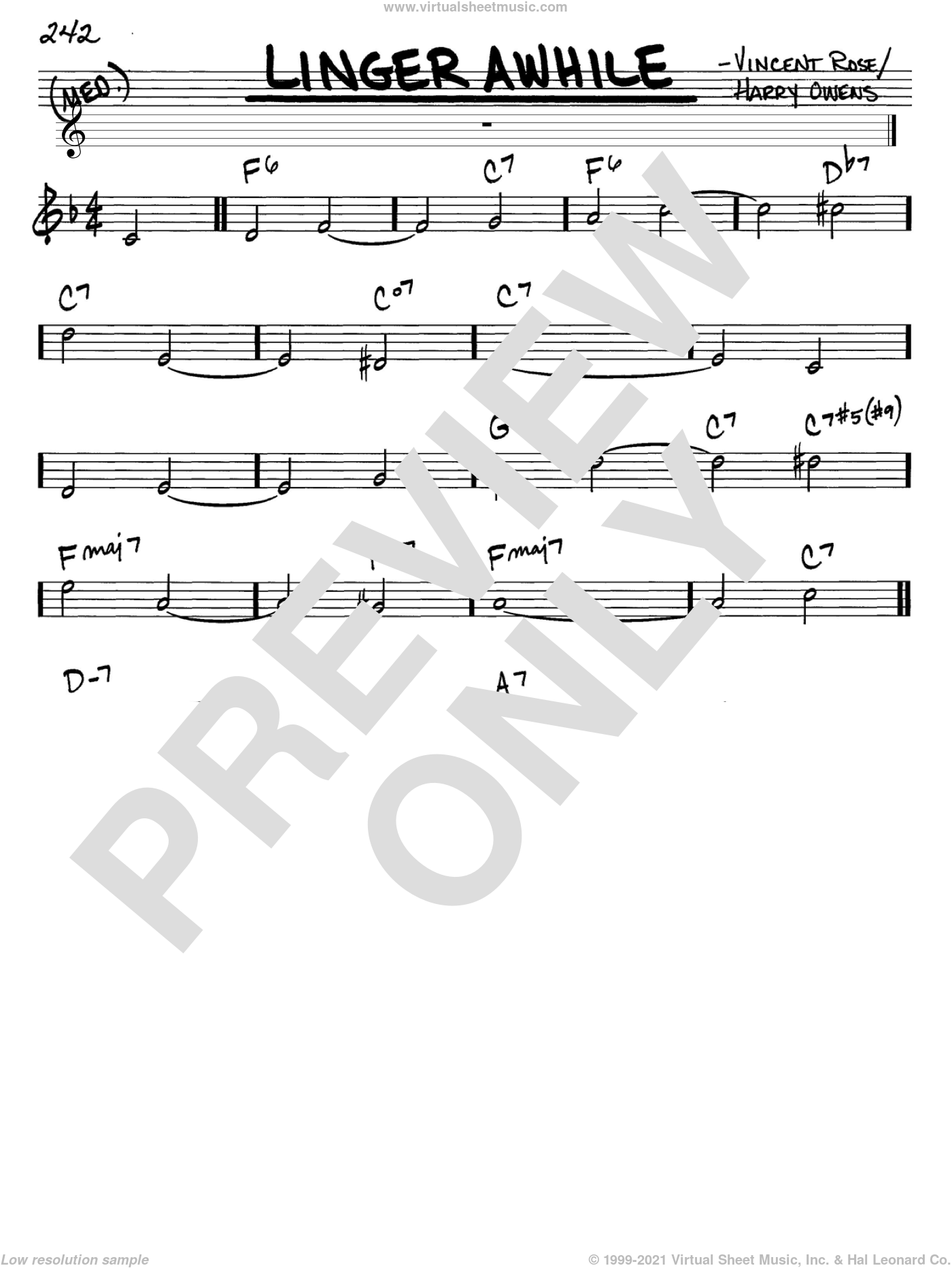 Linger Awhile sheet music for voice and other instruments (C) by Vincent Rose and Harry Owens. Score Image Preview.