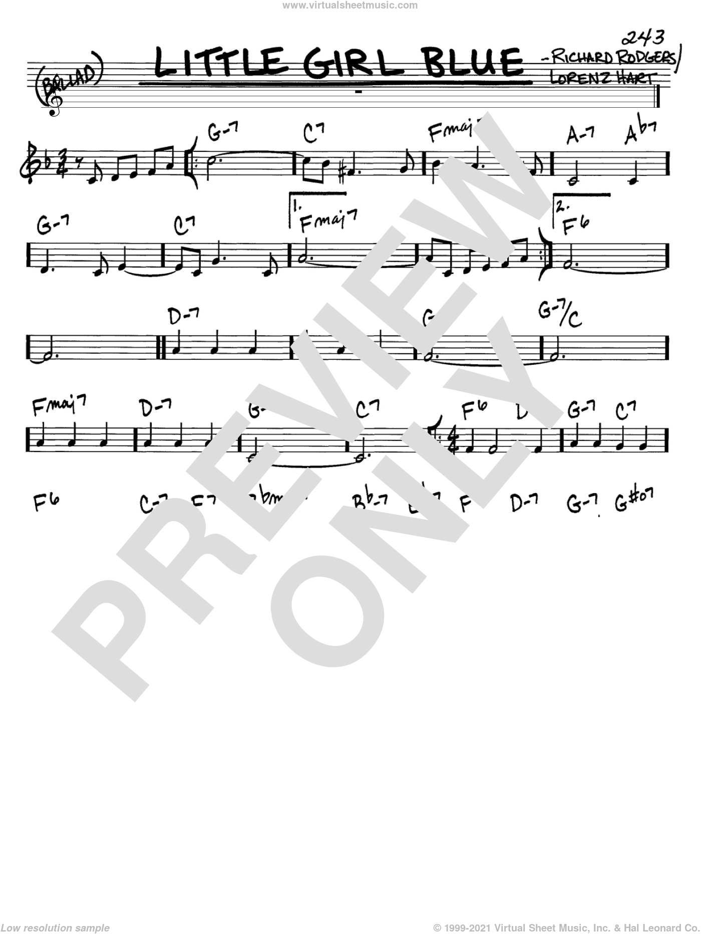 Little Girl Blue sheet music for voice and other instruments (C) by Richard Rodgers, Rodgers & Hart and Lorenz Hart. Score Image Preview.