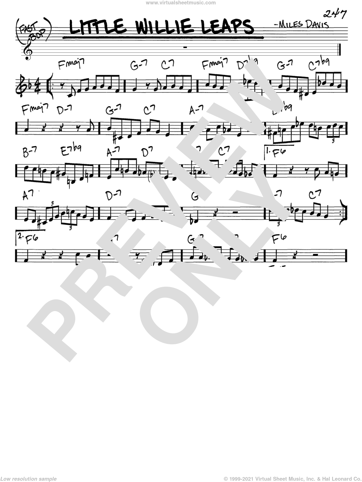 Little Willie Leaps sheet music for voice and other instruments (C) by Miles Davis. Score Image Preview.