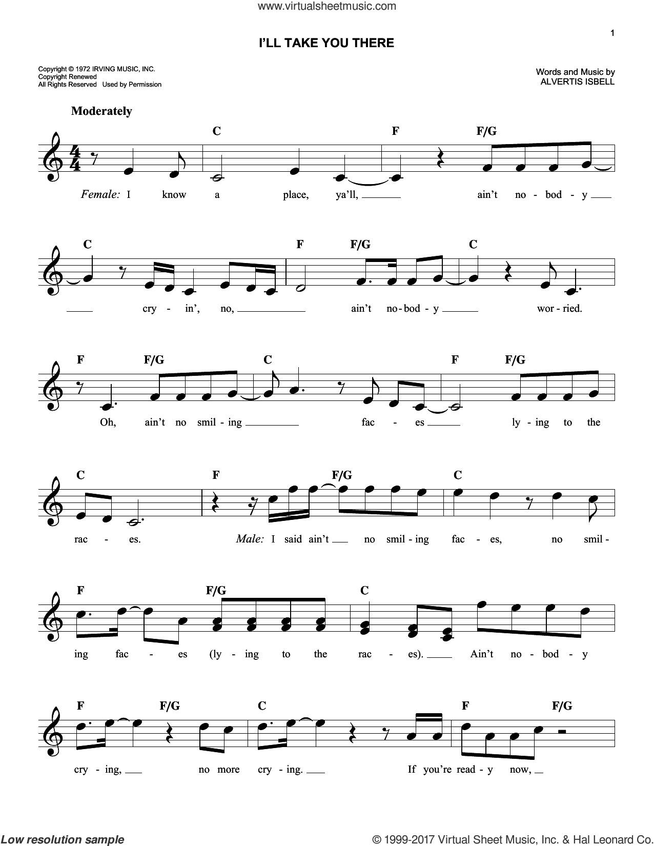 I'll Take You There sheet music for voice and other instruments (fake book) by The Staple Singers and Alvertis Isbell, intermediate skill level
