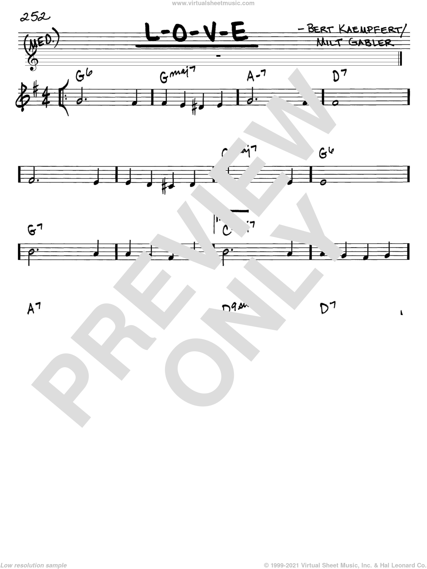 L-O-V-E sheet music for voice and other instruments (C) by Milt Gabler