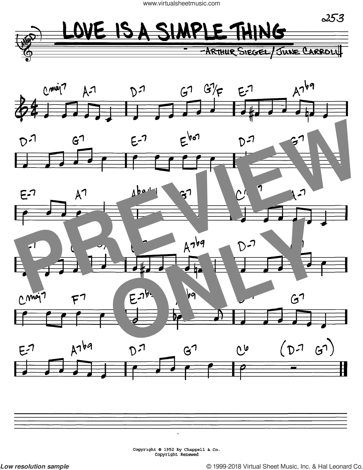 Love Is A Simple Thing sheet music for voice and other instruments (in C) by June Carroll and Arthur Siegel, intermediate skill level