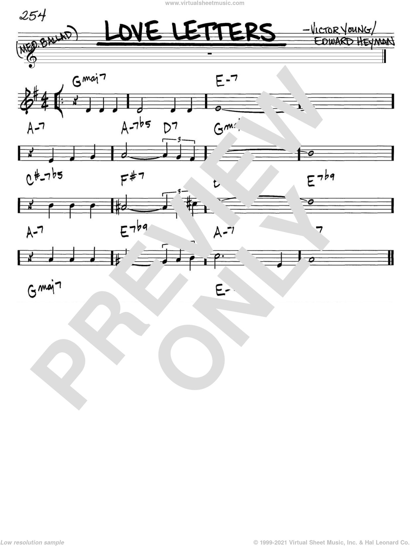 Love Letters sheet music for voice and other instruments (C) by Edward Heyman and Victor Young. Score Image Preview.