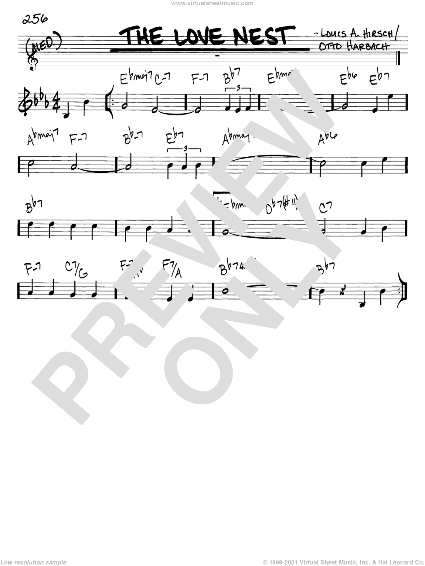 The Love Nest sheet music for voice and other instruments (in C) by Otto Harbach and Louis A. Hirsch, intermediate skill level