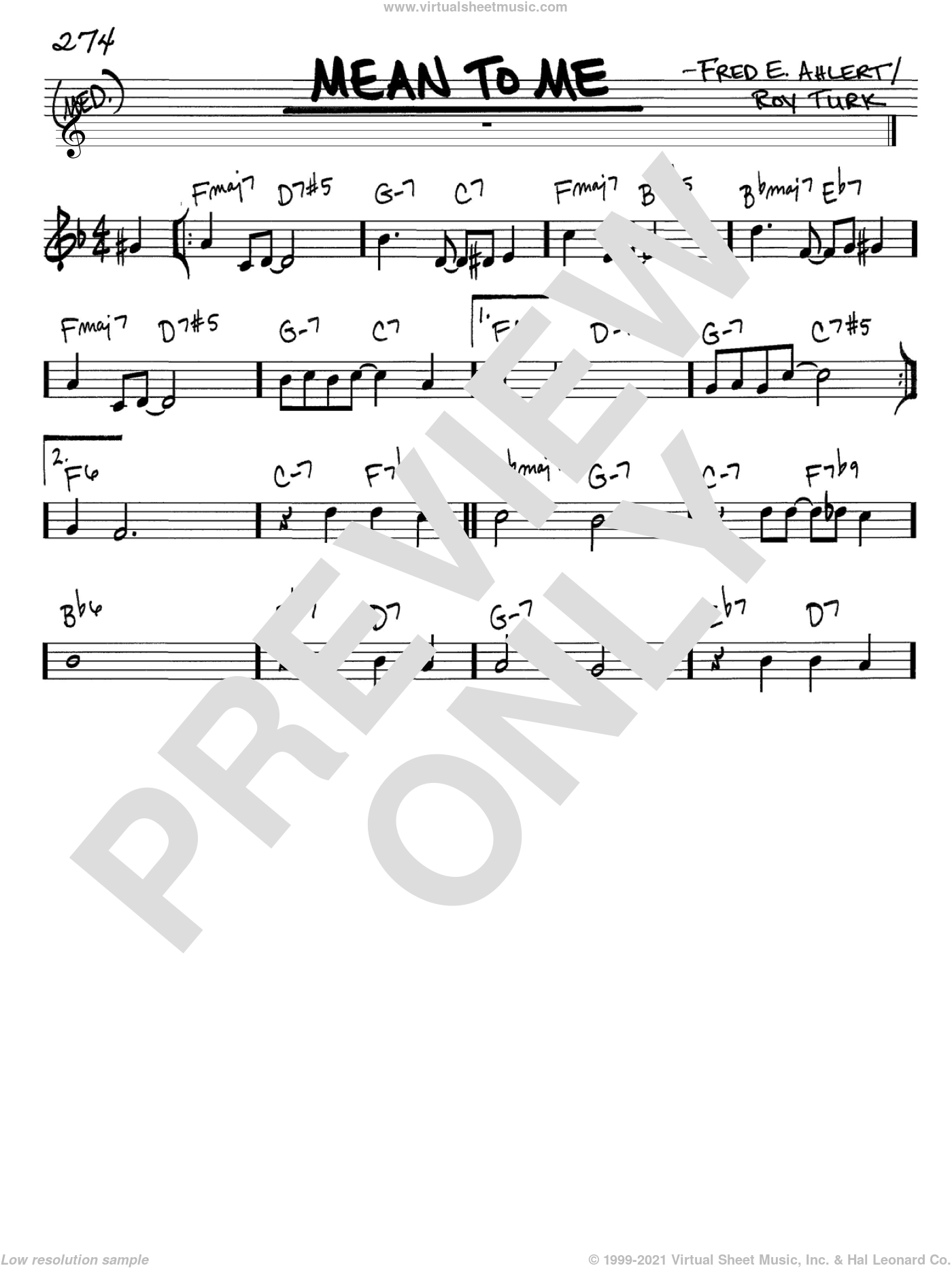 Mean To Me sheet music for voice and other instruments (C) by Roy Turk