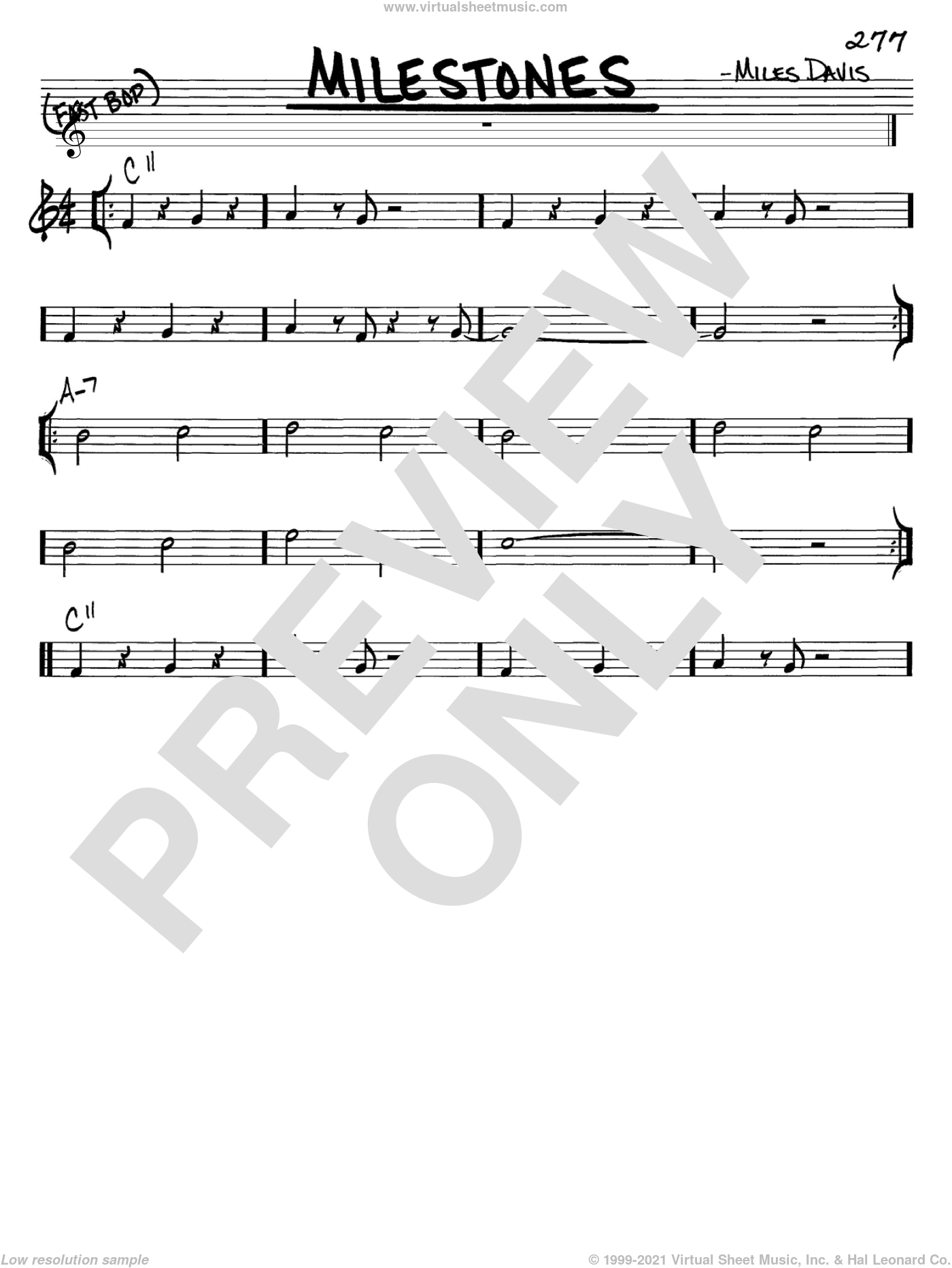 Milestones sheet music for voice and other instruments (C) by Miles Davis, intermediate voice. Score Image Preview.