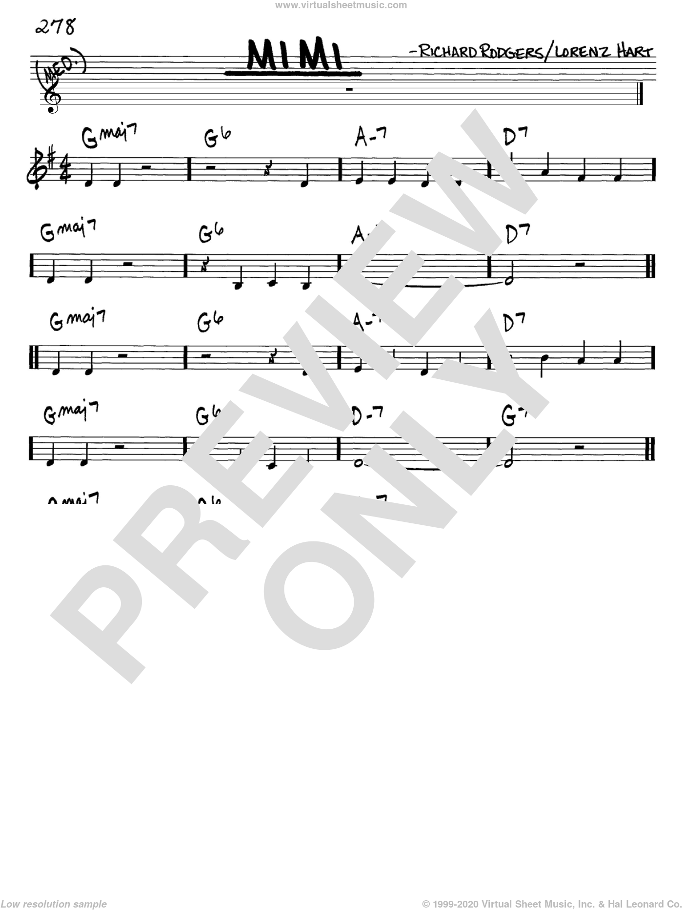 Mimi sheet music for voice and other instruments (C) by Rodgers & Hart, Lorenz Hart and Richard Rodgers, intermediate voice. Score Image Preview.